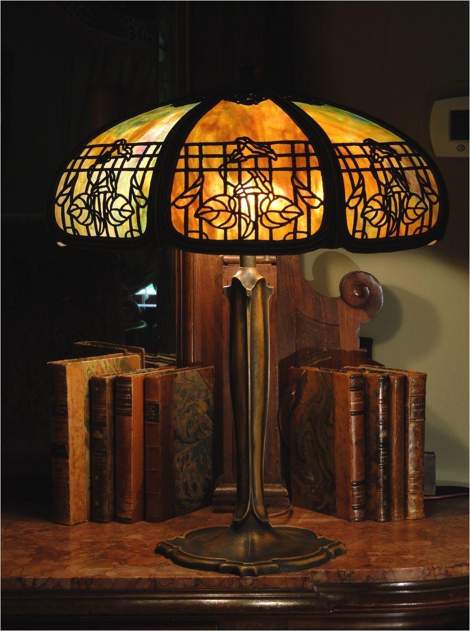 empire lamp co trellis morning glory slag glass lamp stained glass lamp