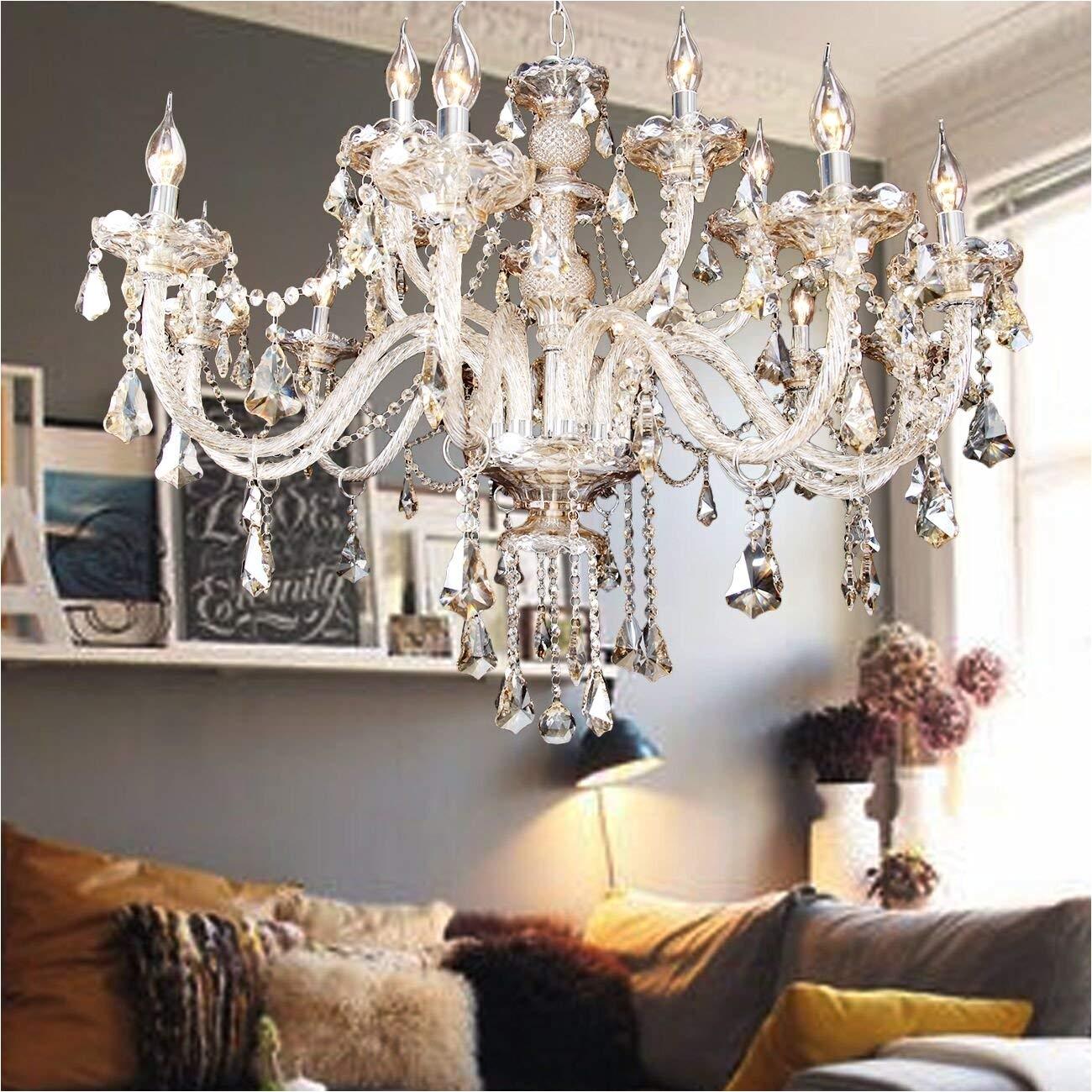 ridgeyard 15 lights luxurious k9 crystal chandelier candle cognac pendant lamp ceiling lighting for dining living room bedroom hallway entry 15 lights