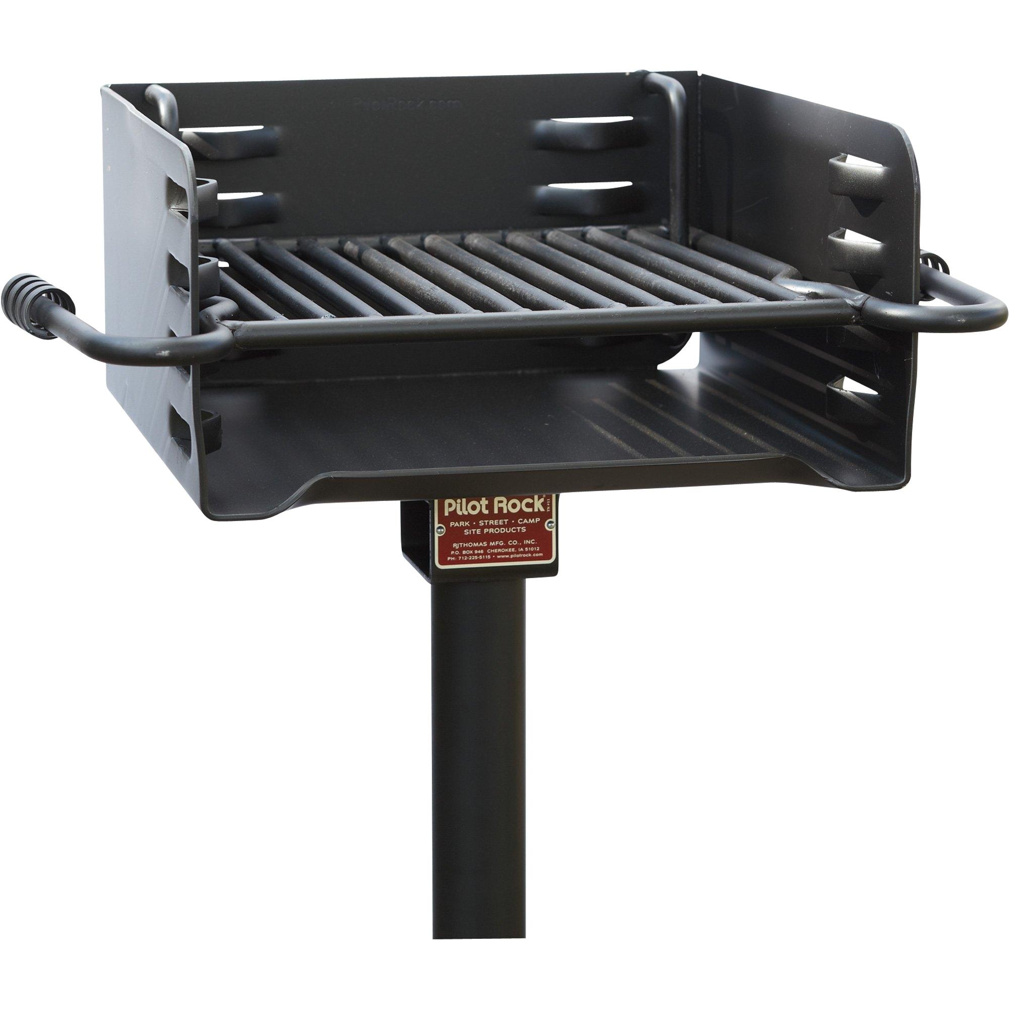 pilot rock heavy duty steel park style charcoal grill 16in x 16in
