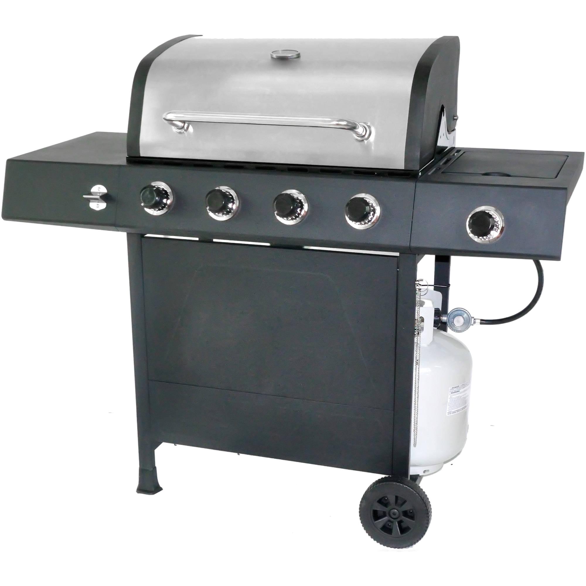 revoace 4 burner lp gas grill with side burner stainless steel walmart com