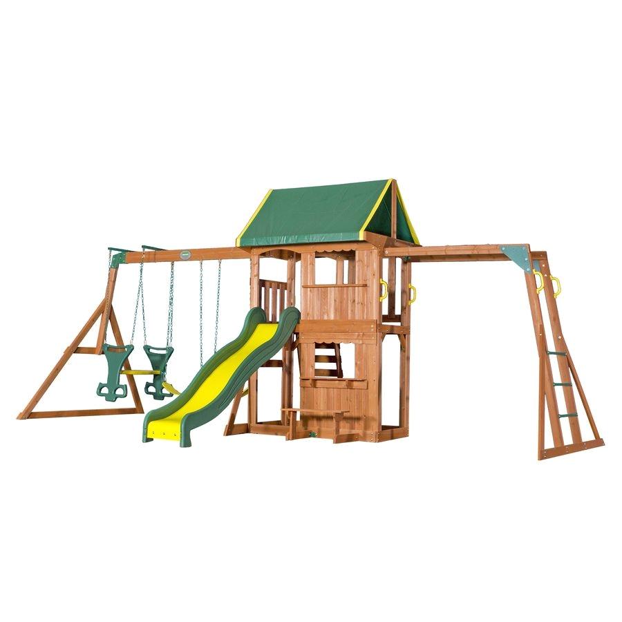 backyard discovery prairie ridge residential wood playset with swings