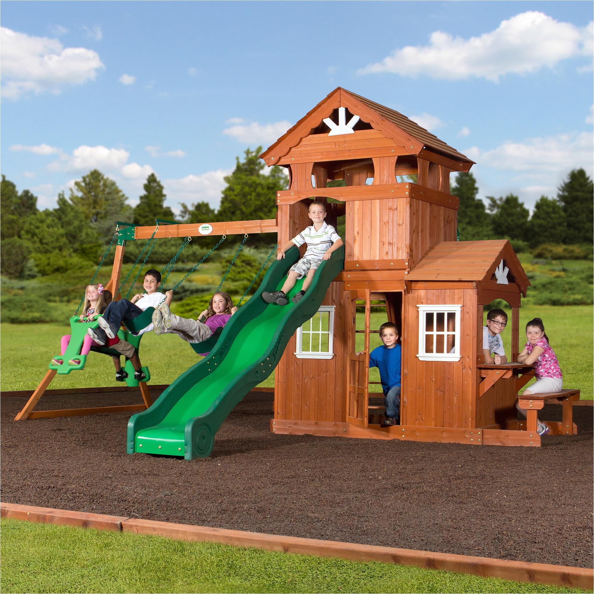 Backyard Discovery Shenandoah Backyard Discovery Shenandoah Cedar Wood Swing Set Walmart Com