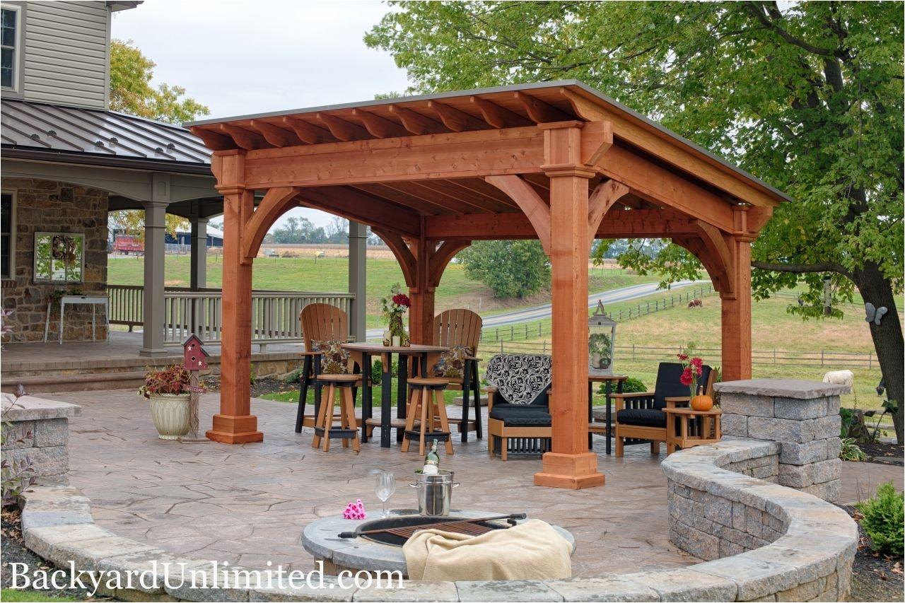 Backyard Pavilion Plans 10×14 Santa Fe Cedar Pavilion with Cedar Stain Pavillion
