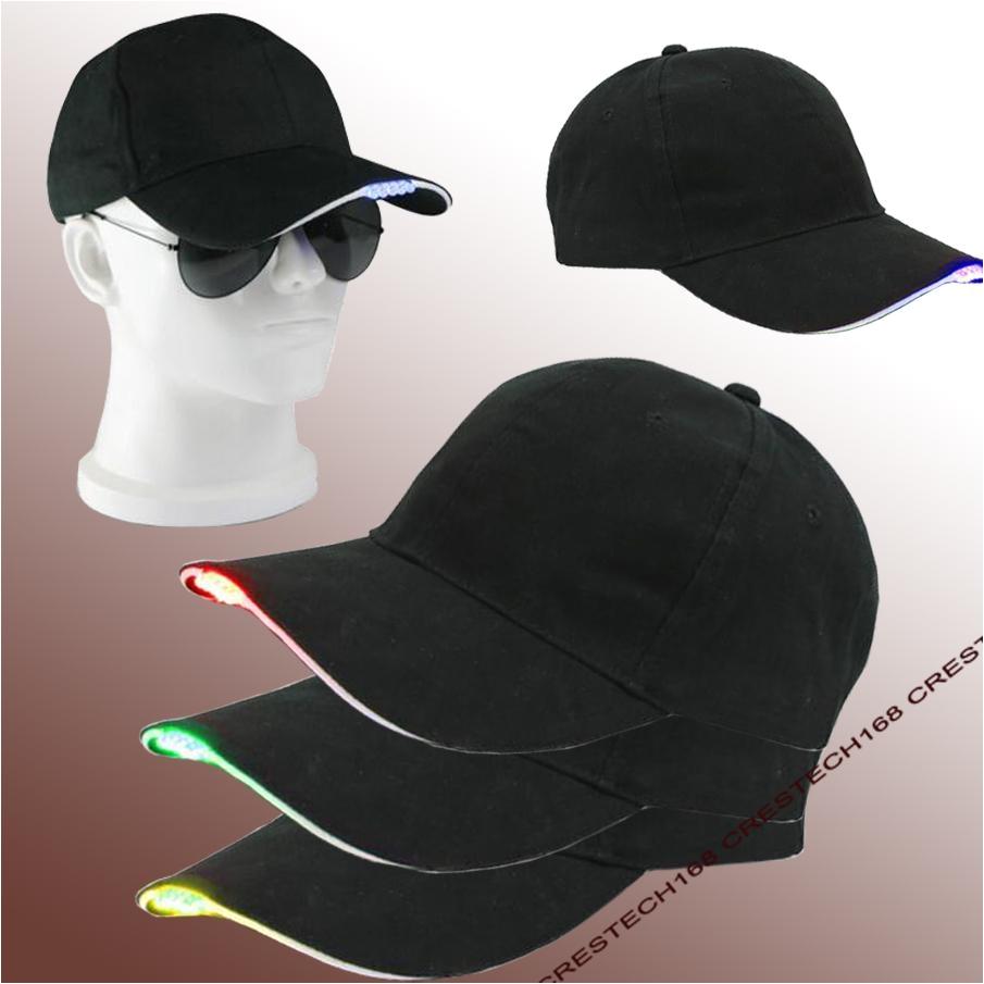 2018 5 leds led lighting fashion baesball hats black cotton fabric glow club party hats travel baseball cap from crestech168 4 15 dhgate com