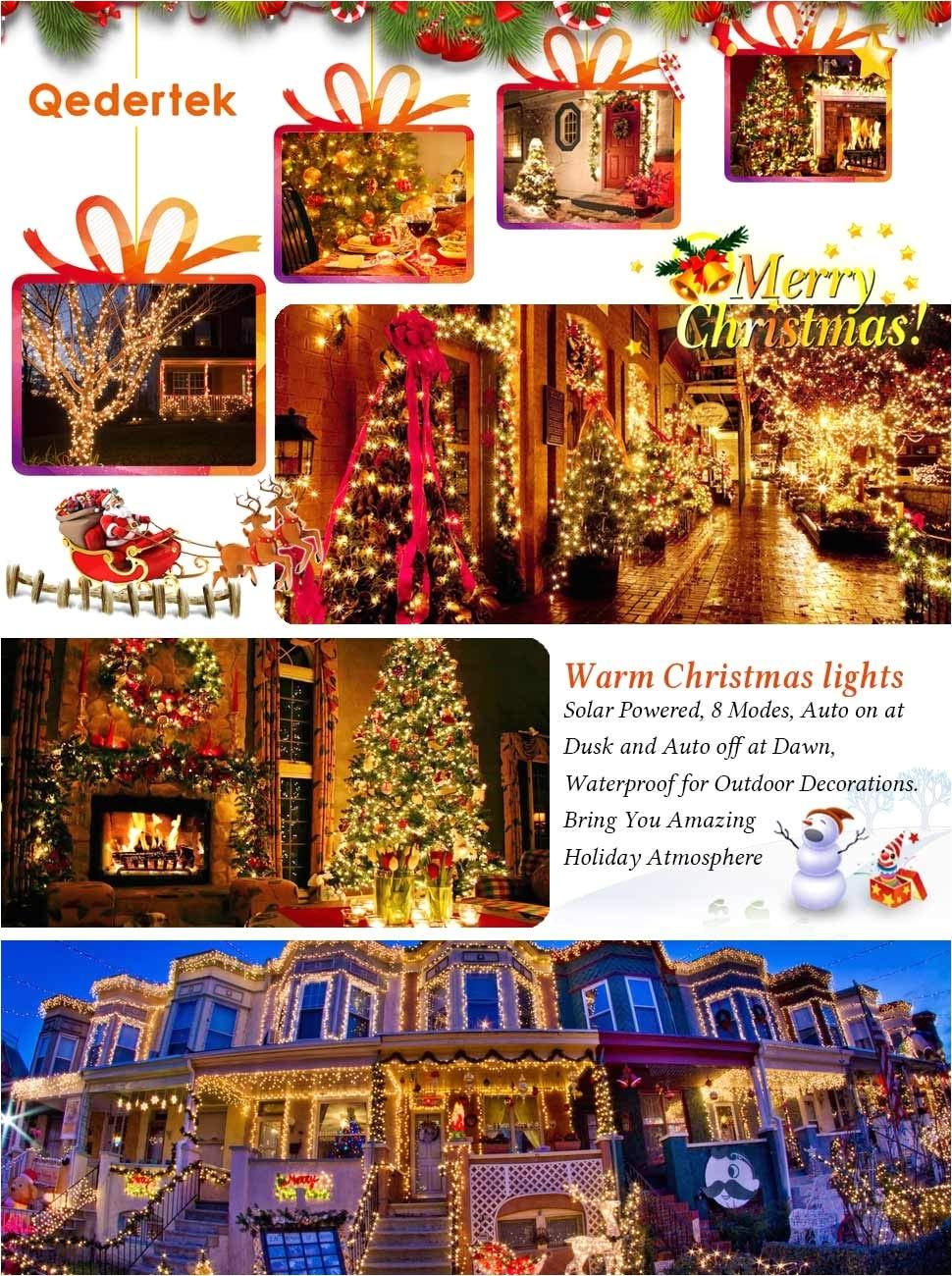 qedertek 2 pack solar christmas lights 72ft 200 led warm white romantic christmas lights
