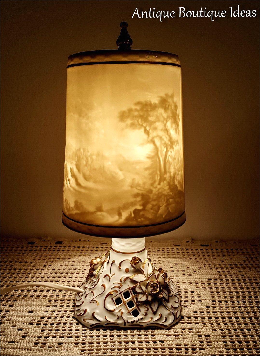 unique vintage lithophane lamp bedside table lamp vintage plaue lithophanie shades german porcelain by antiqueboutiqueideas on