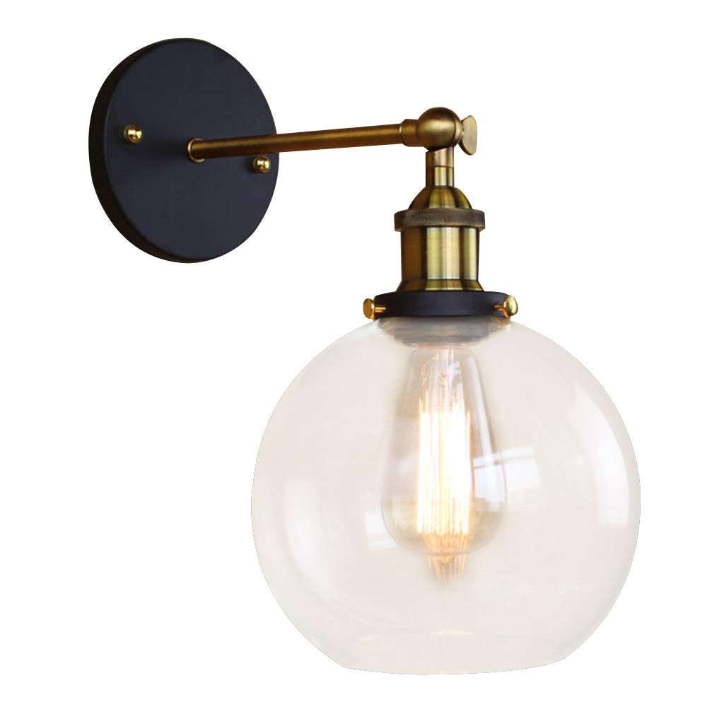 baycheer hl416426 vintage industrial edison style finish round glass ball shape wall lamp vintage lighting fixture lights wall sconce amazon com