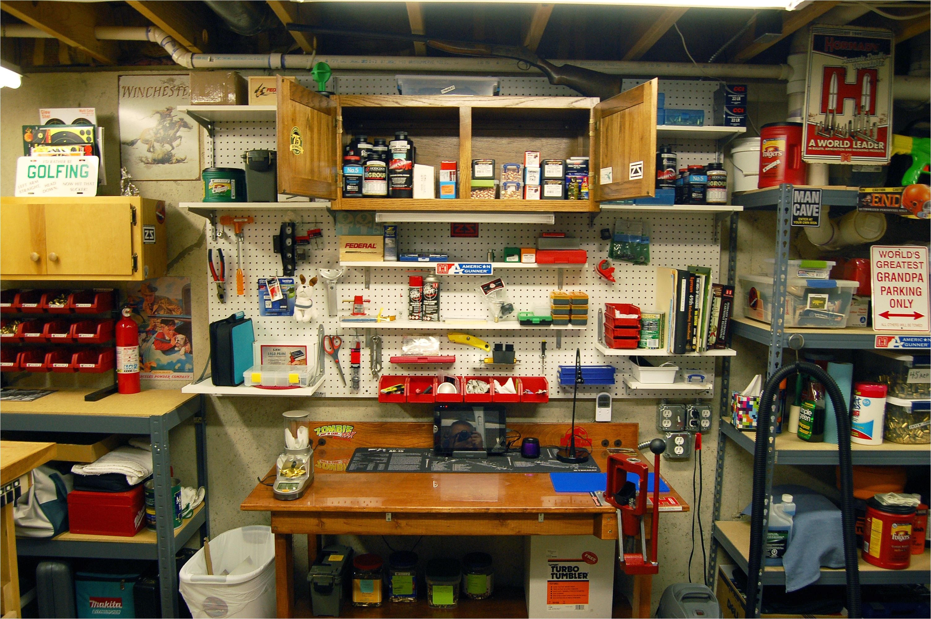 ammo reloading bench setup always a work in progress this is the latest view