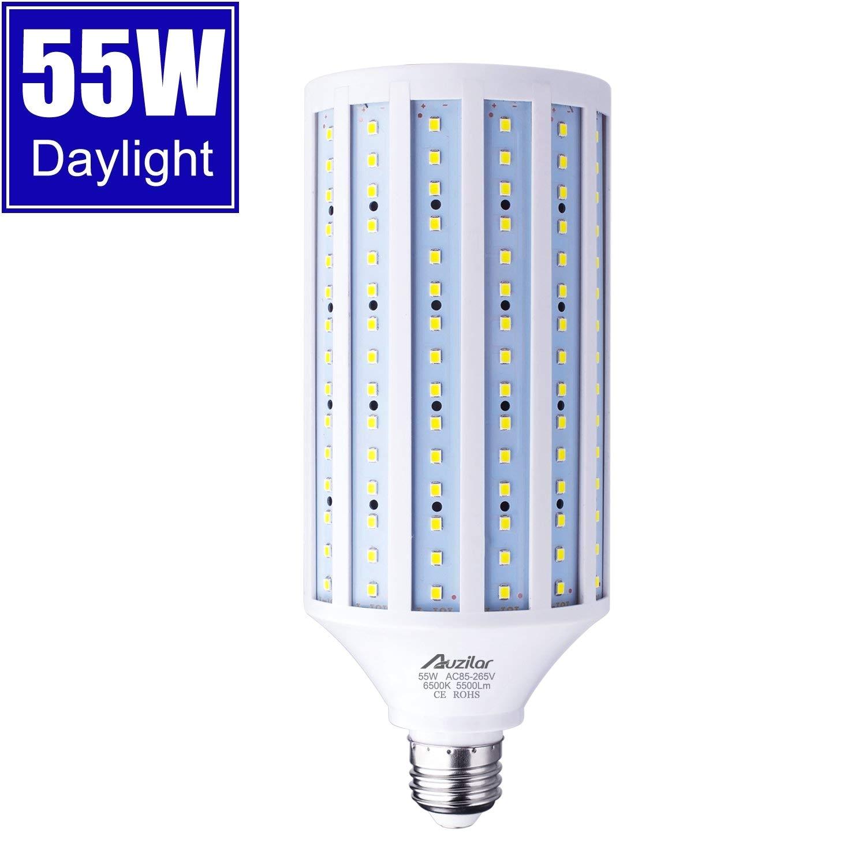 55w led corn light bulb for indoor outdoor large area e26 5500lm 6500k cool white super bright daylight led corn bulb for garage barn workshop warehouse