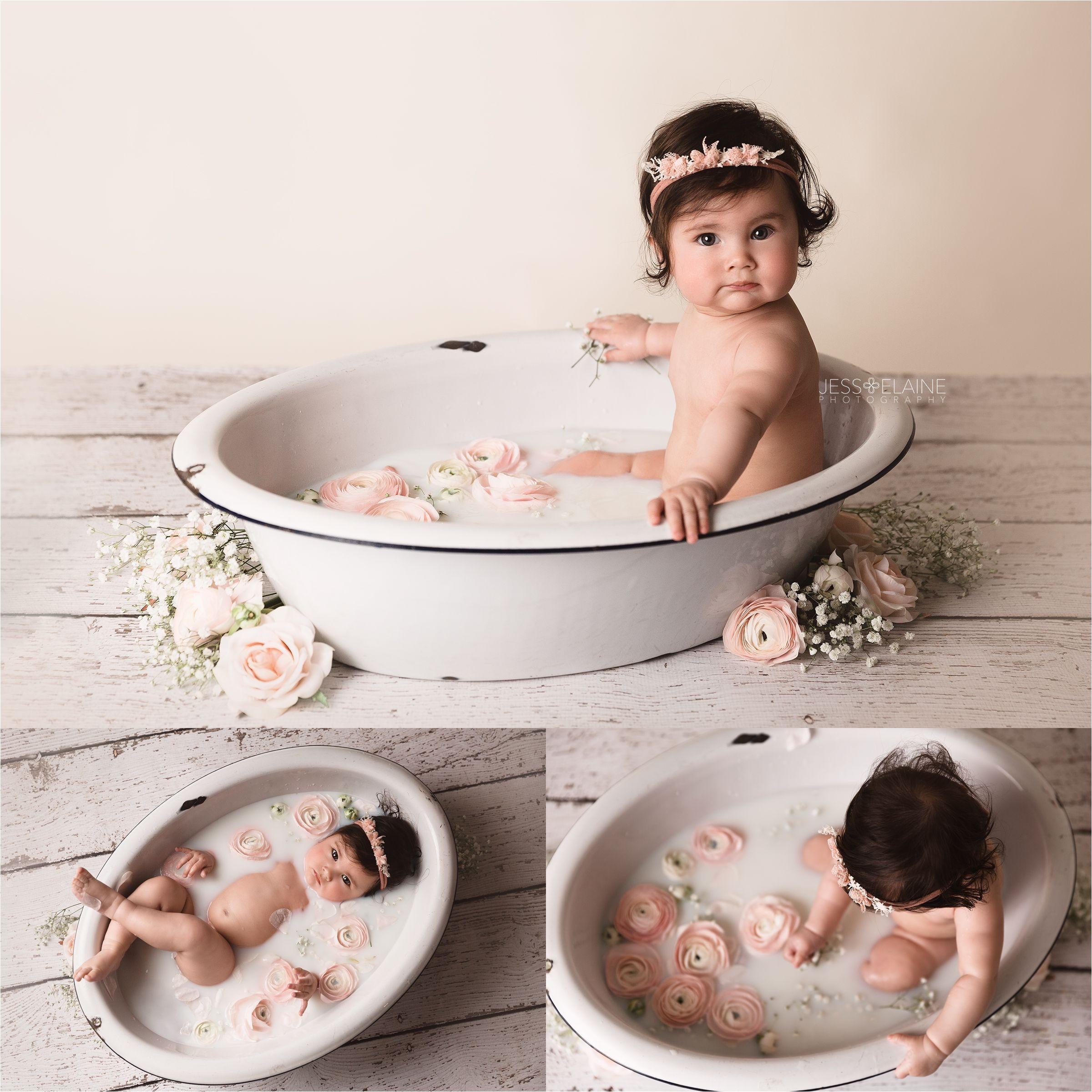baby floral milk bath jess elaine photography