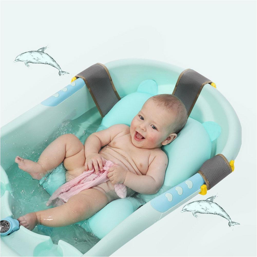 newborn baby bathtub foldable cartoon mat soft seat infant sink shower baby play bath cushion childrens