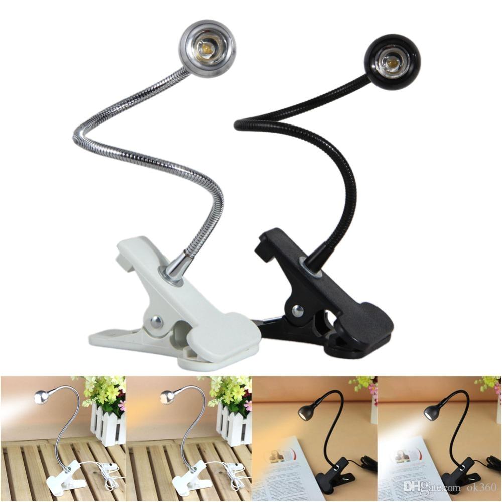 2018 3w usb rechargeble led light clip on flexible reading bed lamp table desk lamp book desktop bed lamp lighting bedside lighting from ok360