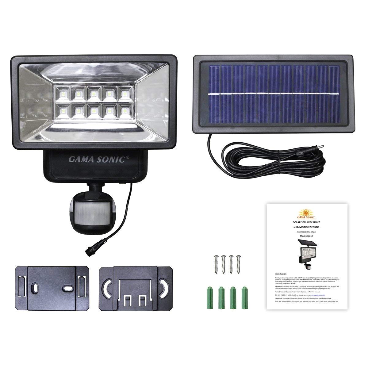 amazon com gama sonic solar outdoor security light with motion sensor gs 10 black finish garden outdoor