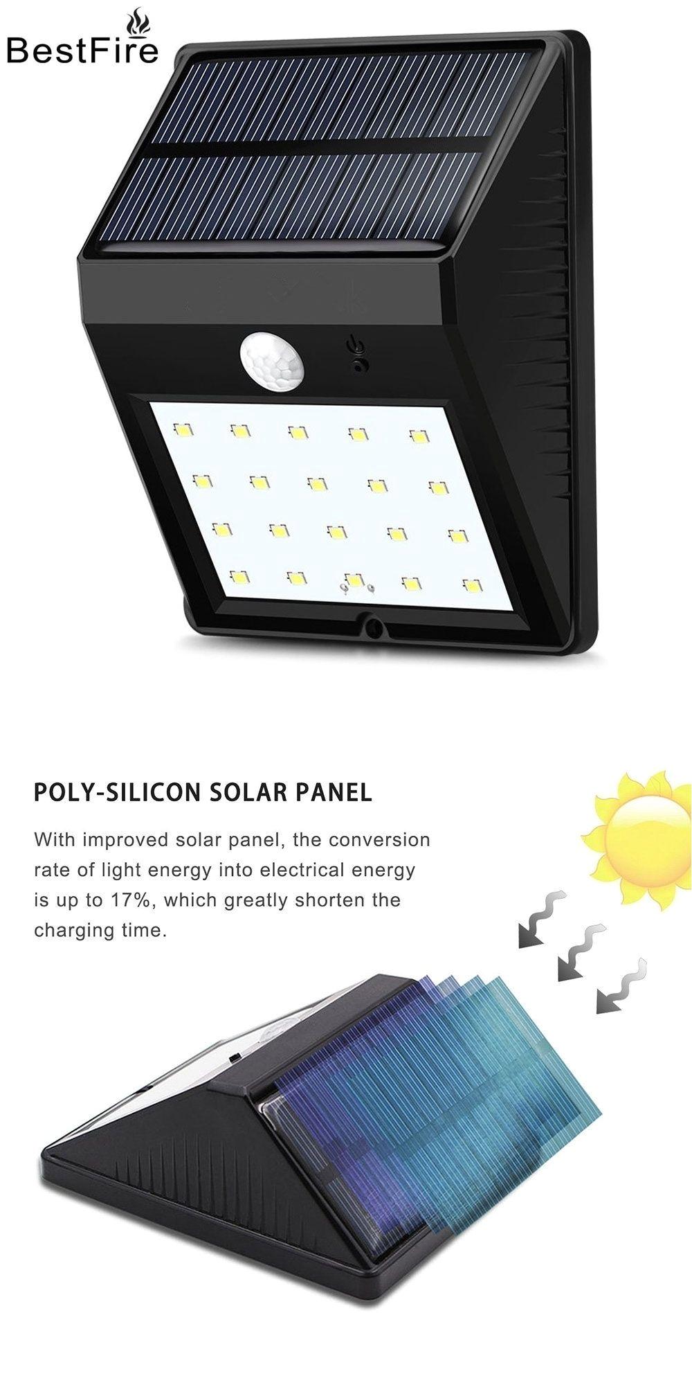 bestfire 20led solar light solar power pir motion sensor waterproof led garden light outdoor solar lamp
