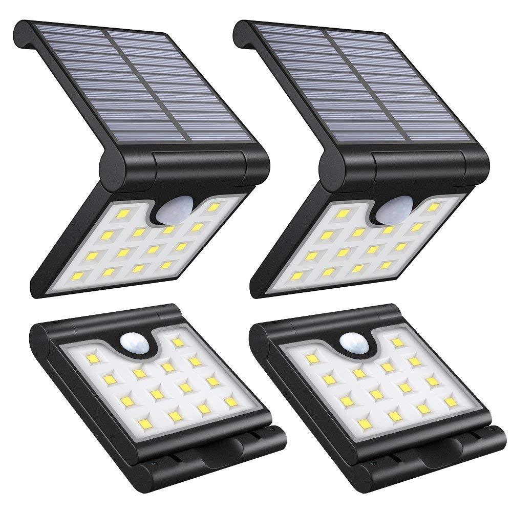 vmanoo foldable solar lights wireless 14 led super bright motion sensor outdoor lighting waterproof security lights for gate deck step wall yard