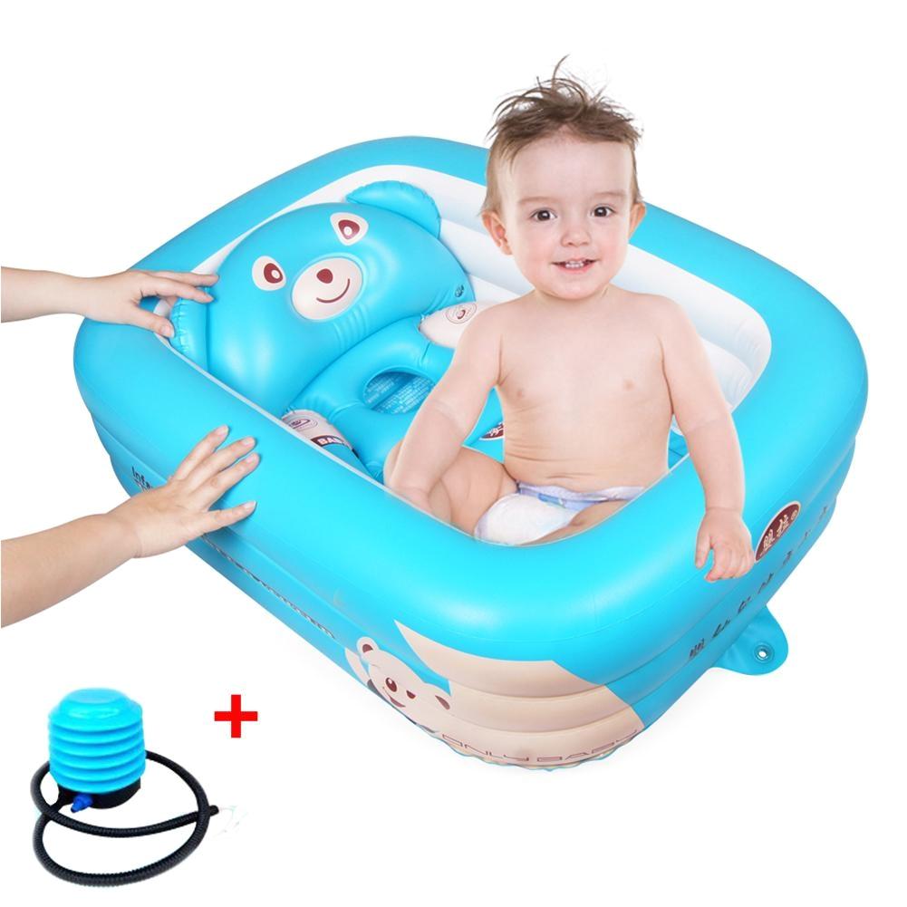 cartoon baby bathtub newborn baby foldable inflatable bathtub large thickened bathing pool paddling pool for sitting