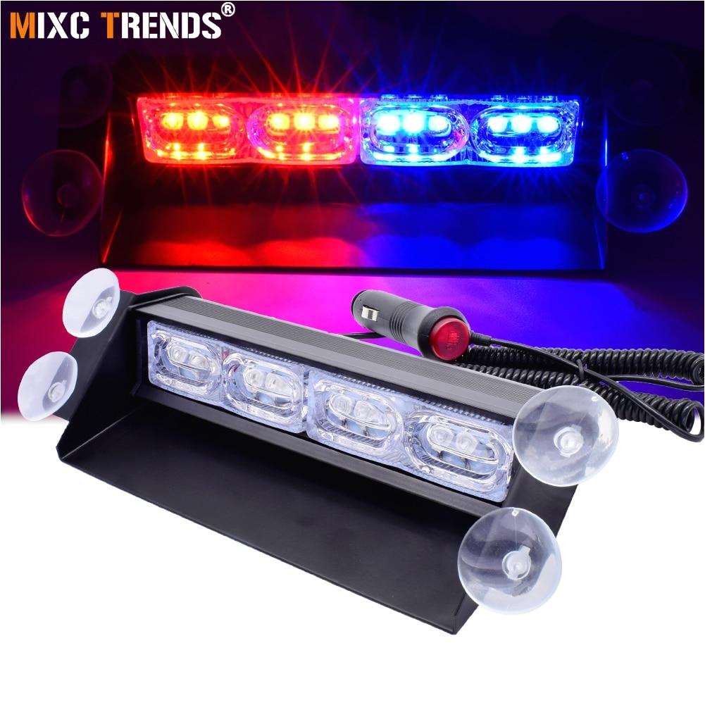 1pcs super bright 12v 12w car interior dash strobe flash led emergency warning police light with