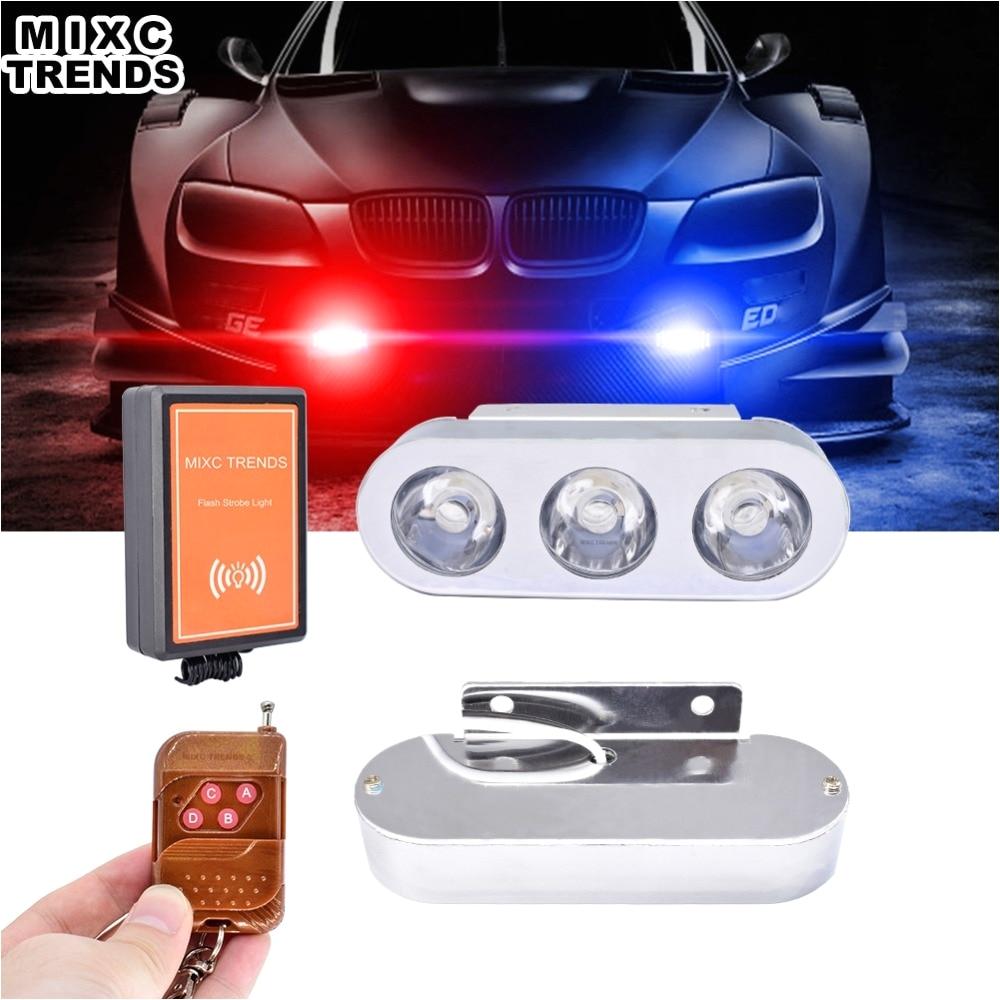 1set remote control led emergency hazard warning strobe light car grille motorcycle 12v flash light for