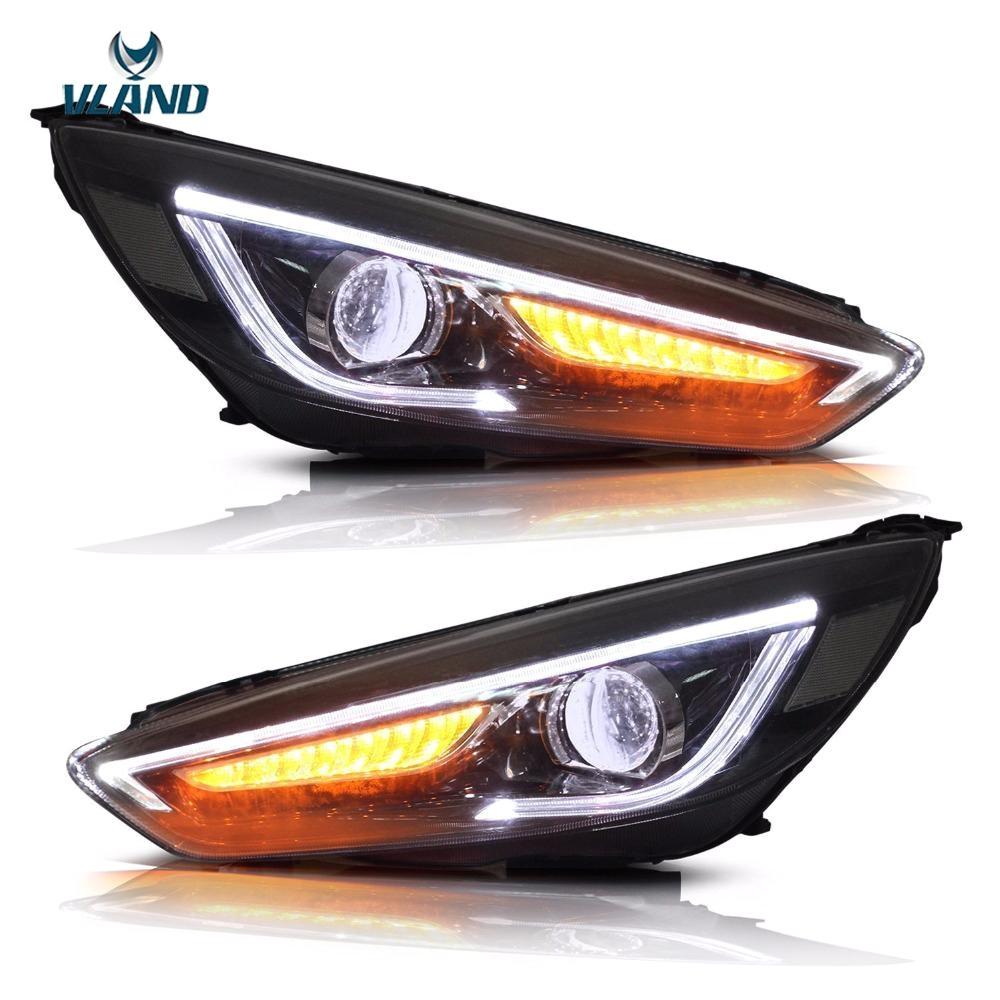 vland car styling headlights fit ford focus headlight 2015 2016 2017 led drl double beam head lamp turnlight running light led retractable work light led s