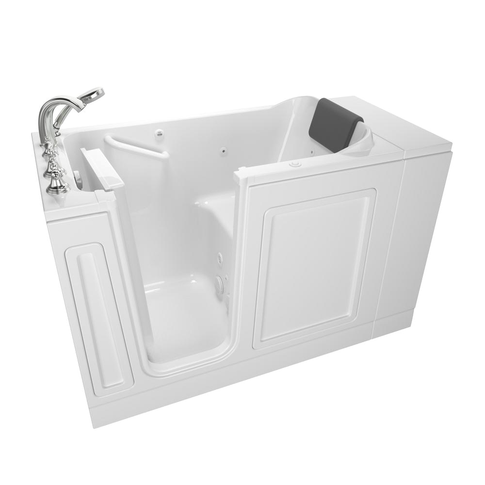 left hand walk in whirlpool bathtub in white