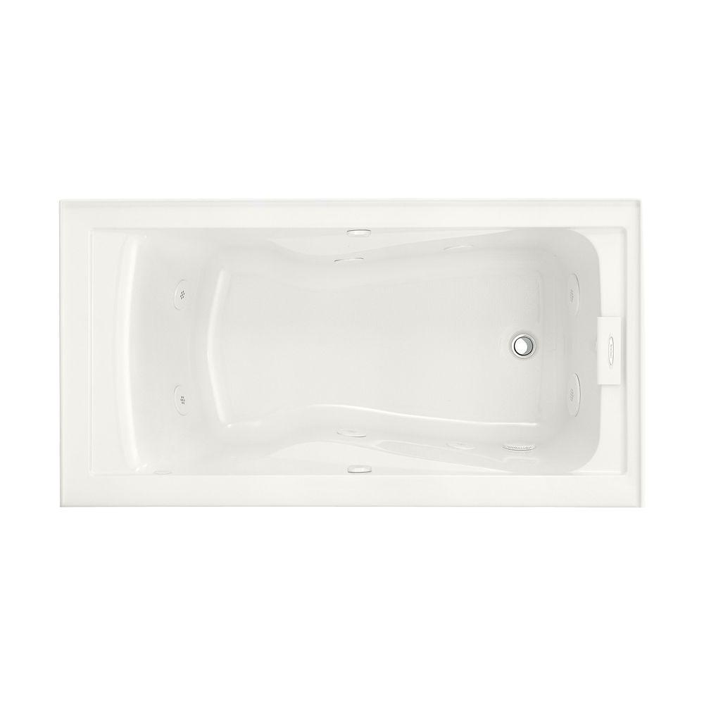 acrylic right drain rectangular alcove whirlpool bathtub in white