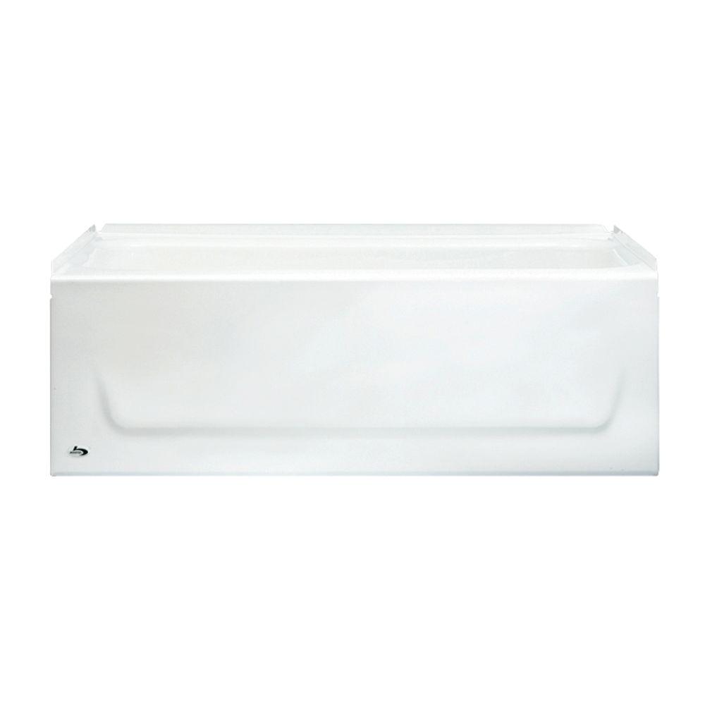 left drain rectangular alcove soaking bathtub in white