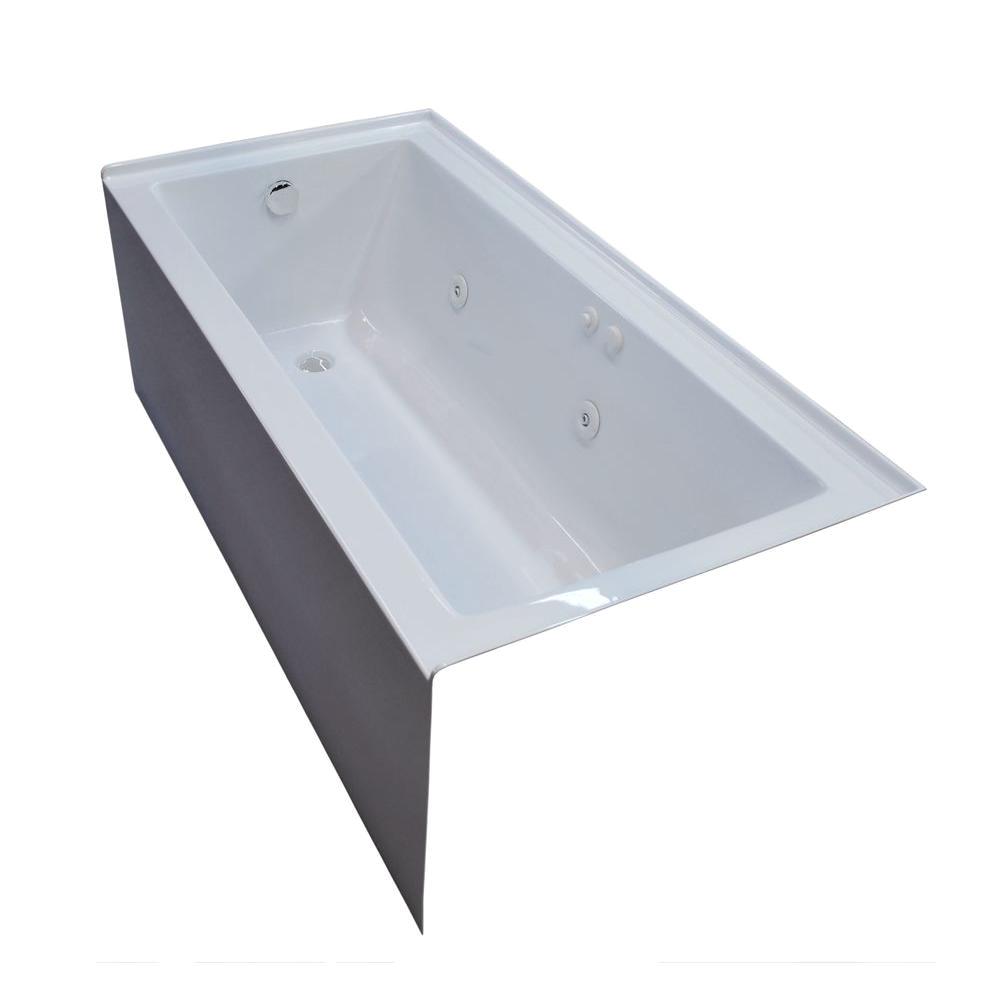 universal tubs amber 5 ft acrylic rectangular drop in whirlpool bathtub in white