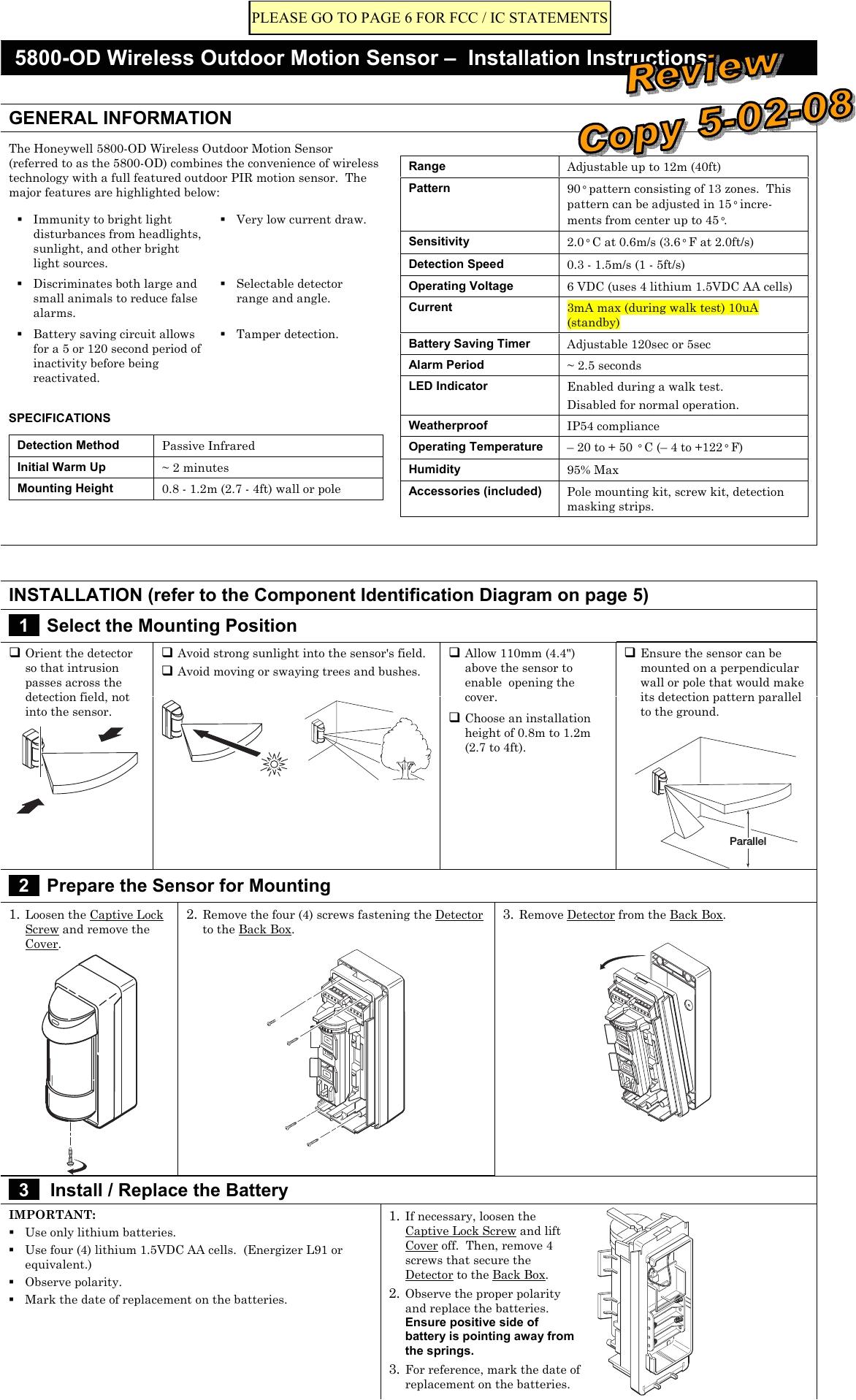 8dl5800pir od security transmitter user manual 5890 od wireless outdoor motion sensor honeywell international inc