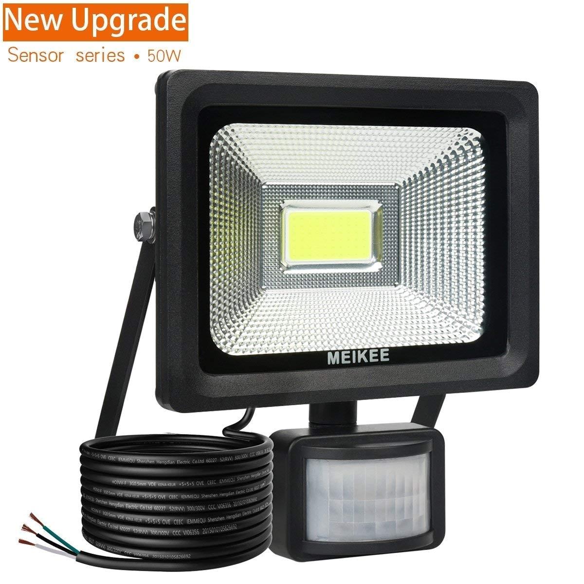 motion sensor flood light meikee 50w super bright led flood lights high output 3750 lumen 150w hps bulb equivalent daylight white waterproof