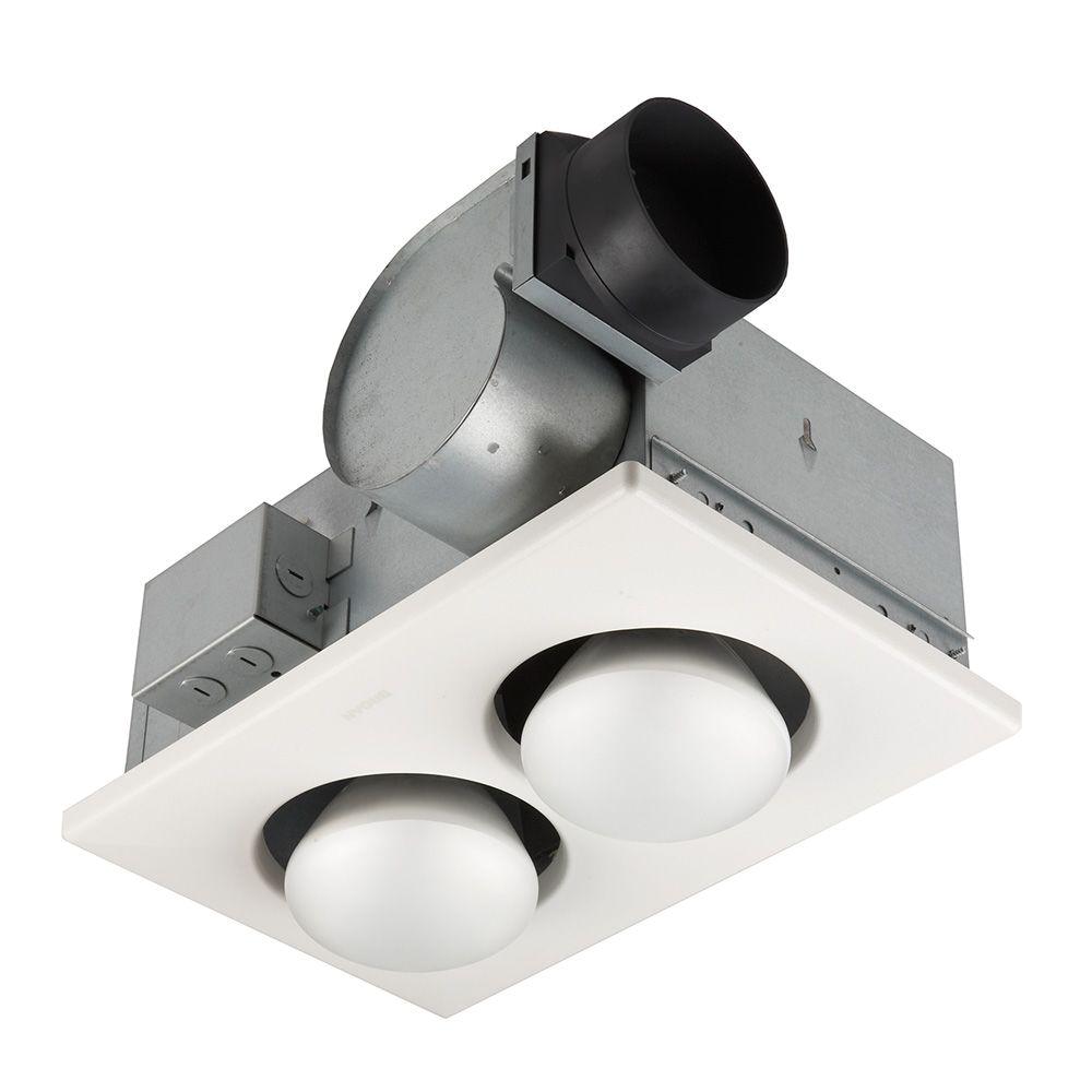 broan 70 cfm ceiling bathroom exhaust fan with 500 watt 2 bulb infrared heater