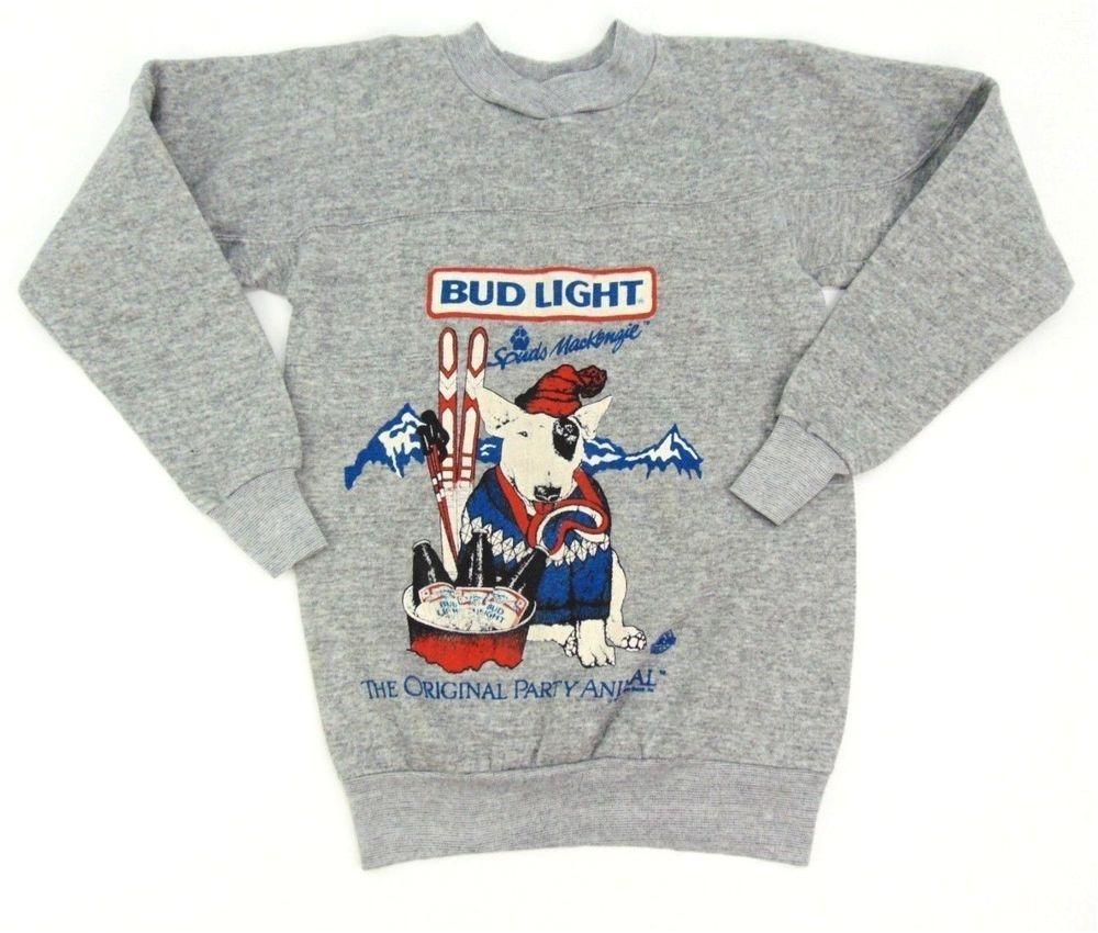 vintage 1987 spuds mackenzie bud light gray graphic fleece sweatshirt size small ebay link