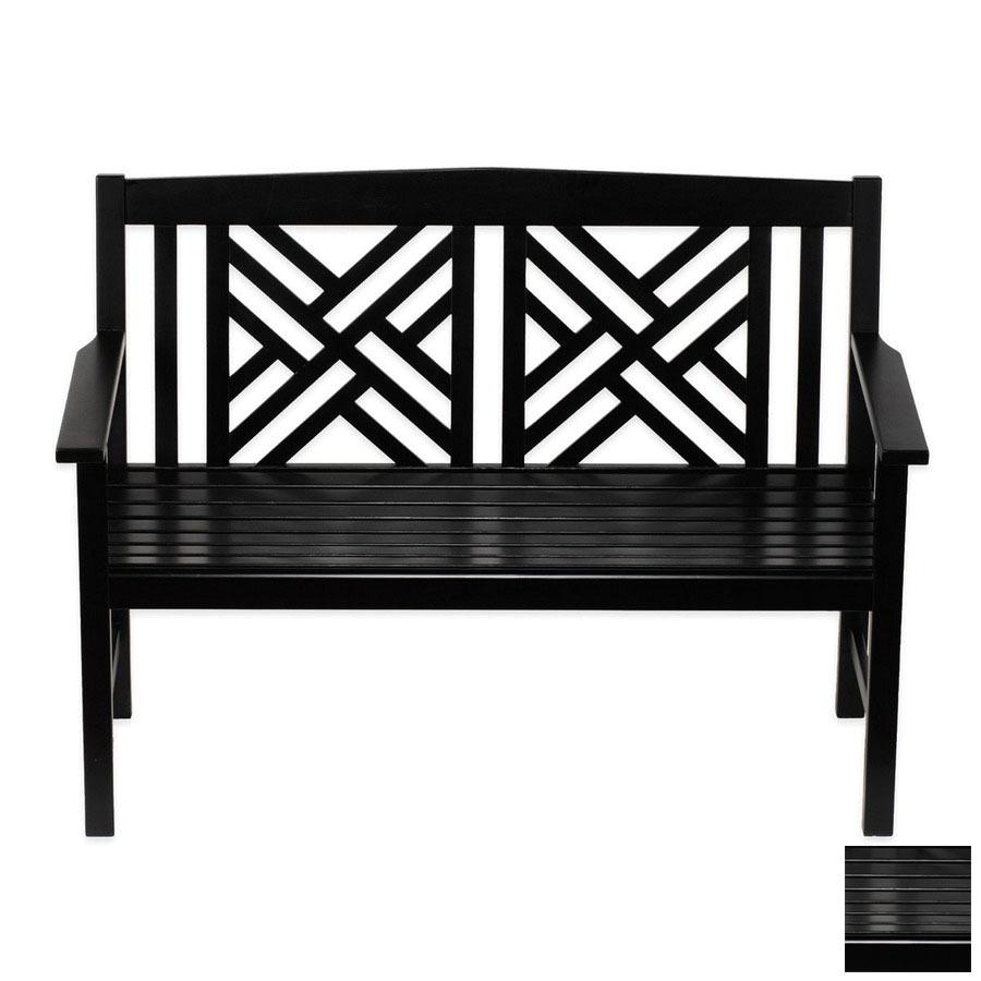 achla designs fretwork 20 in w x 48 in l black lacquer eucalyptus patio