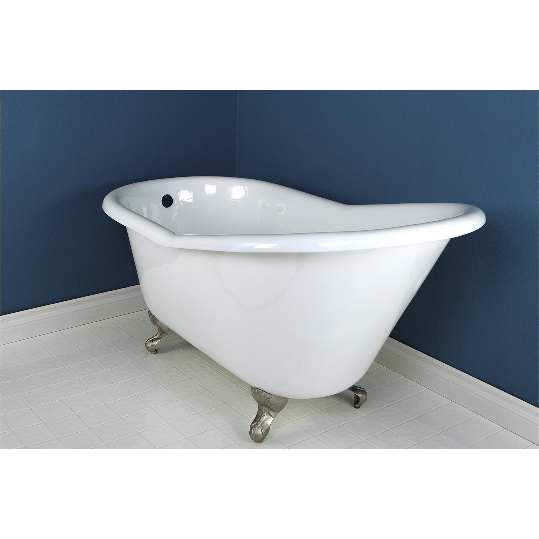 kingston brass aqua eden 60 cast iron slipper clawfoot bath tub with satin nickel feet