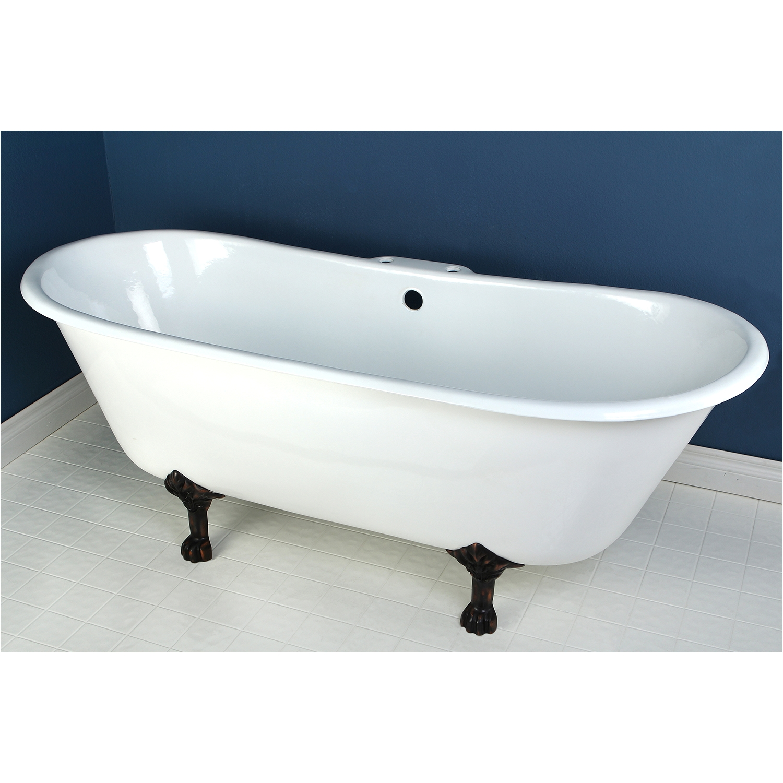kingston brass aqua eden 67 cast iron double slipper clawfoot bath tub with oil rubbed