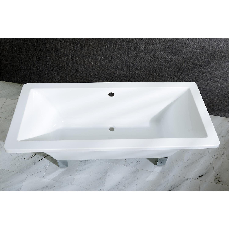 kingston brass aqua eden 67 acrylic clawfoot square bath tub with chrome feet