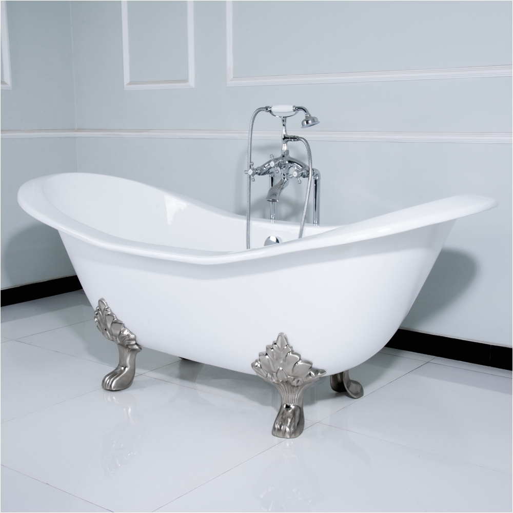 kingston brass aqua eden 72 cast iron double slipper clawfoot bathtub with chrome feet