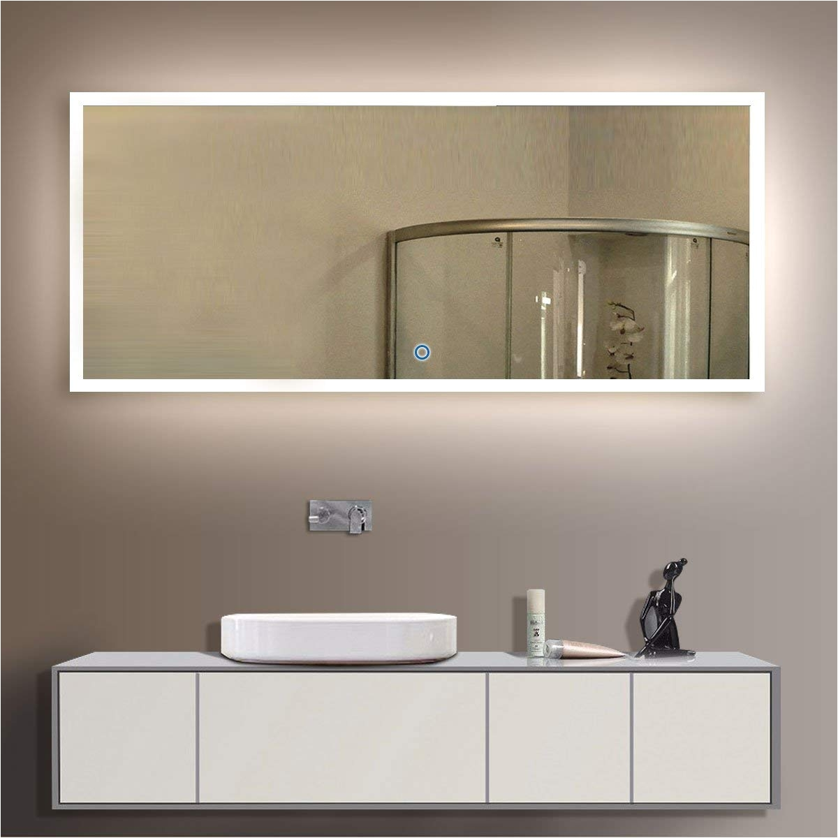 amazon com bhbl 84 x 40 in led backlit mirror wall mounted lighted makeup vanity mirror with touch button n031 a home kitchen