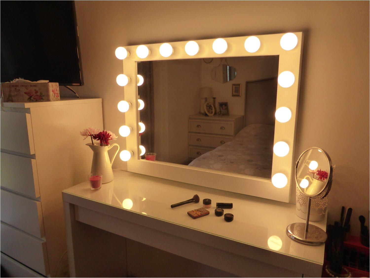 hollywood lighted vanity mirror large makeup mirror with lights wall hanging free standing perfect for ikea malm vanity bulbs not included by