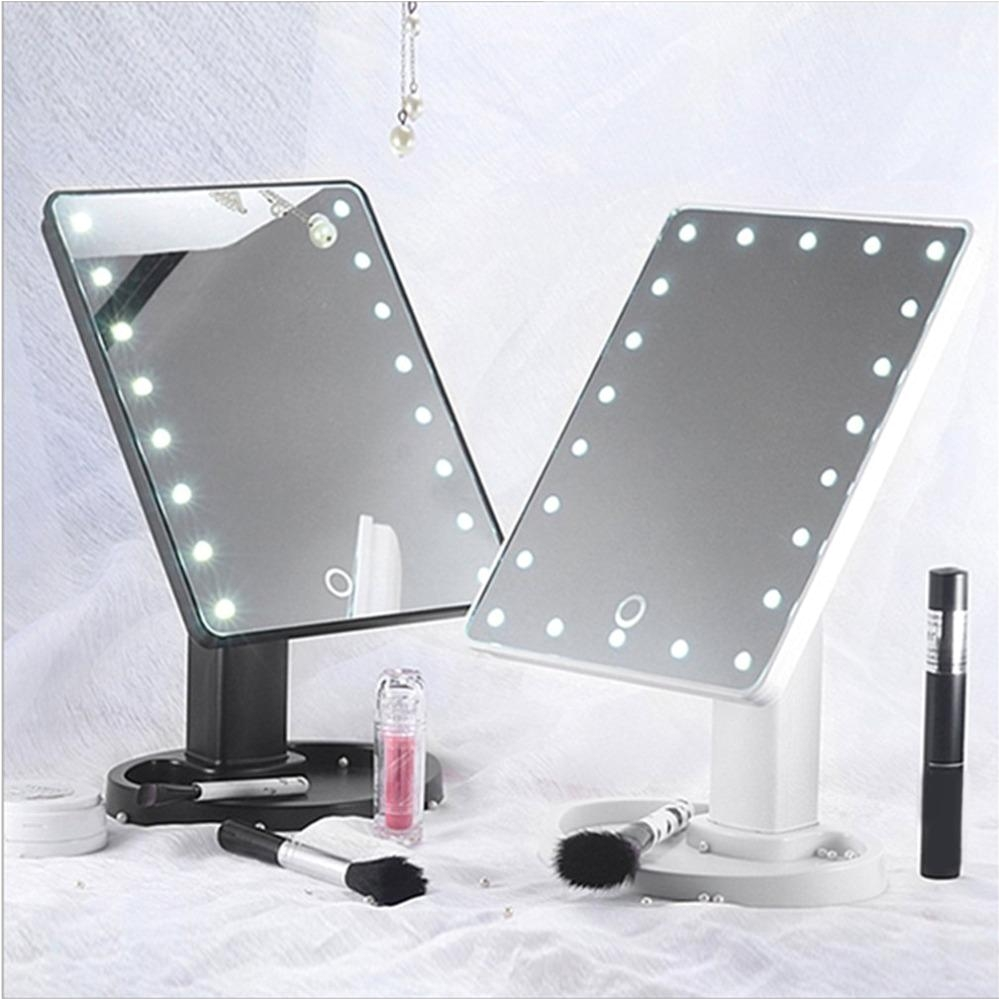 newest portable size 22led women facial makeup mirror 360 degree rotation touch induction tabletop cosmetic makeup mirror brass mirror conair makeup mirror