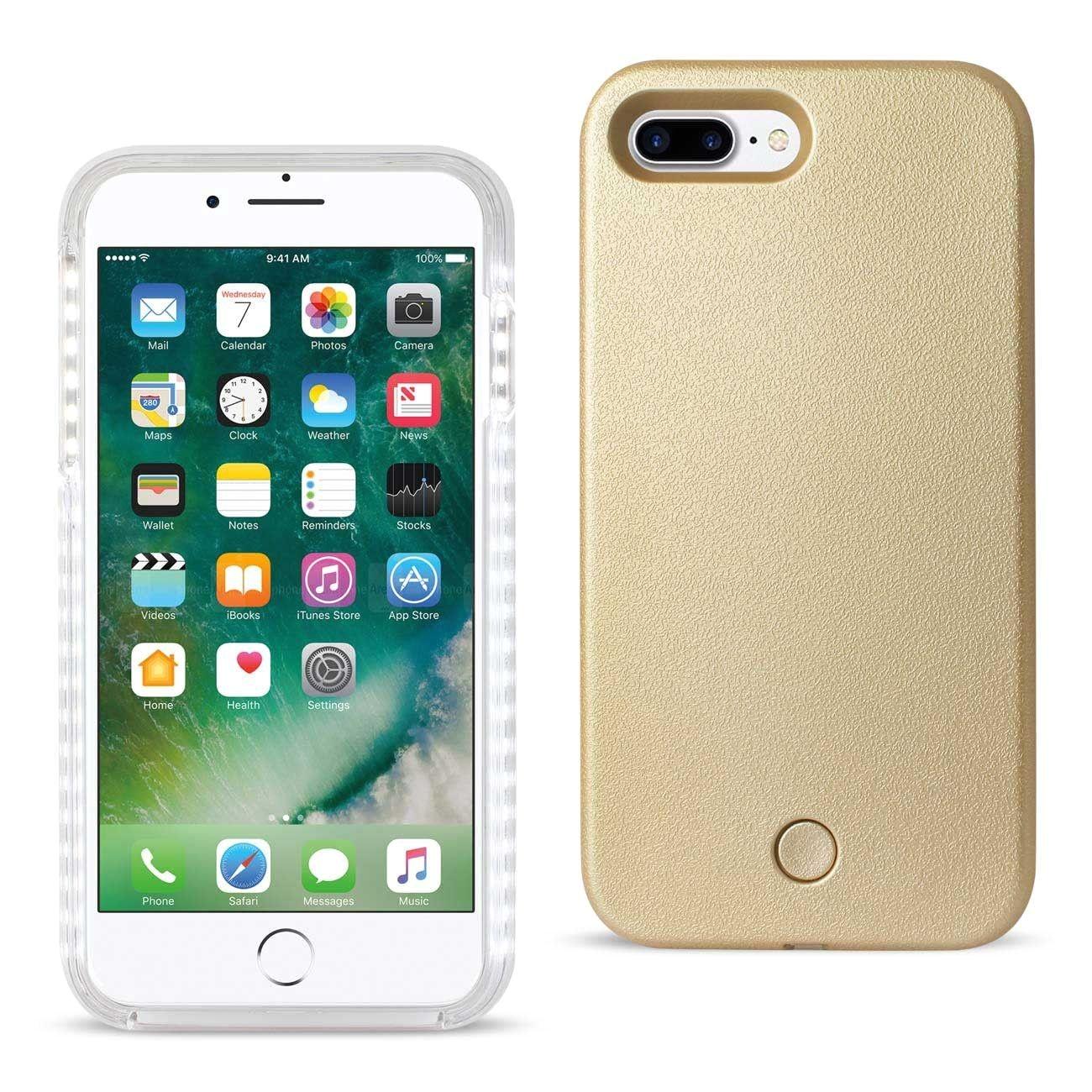 reiko iphone 7 plus led selfie light up illuminated case in gold