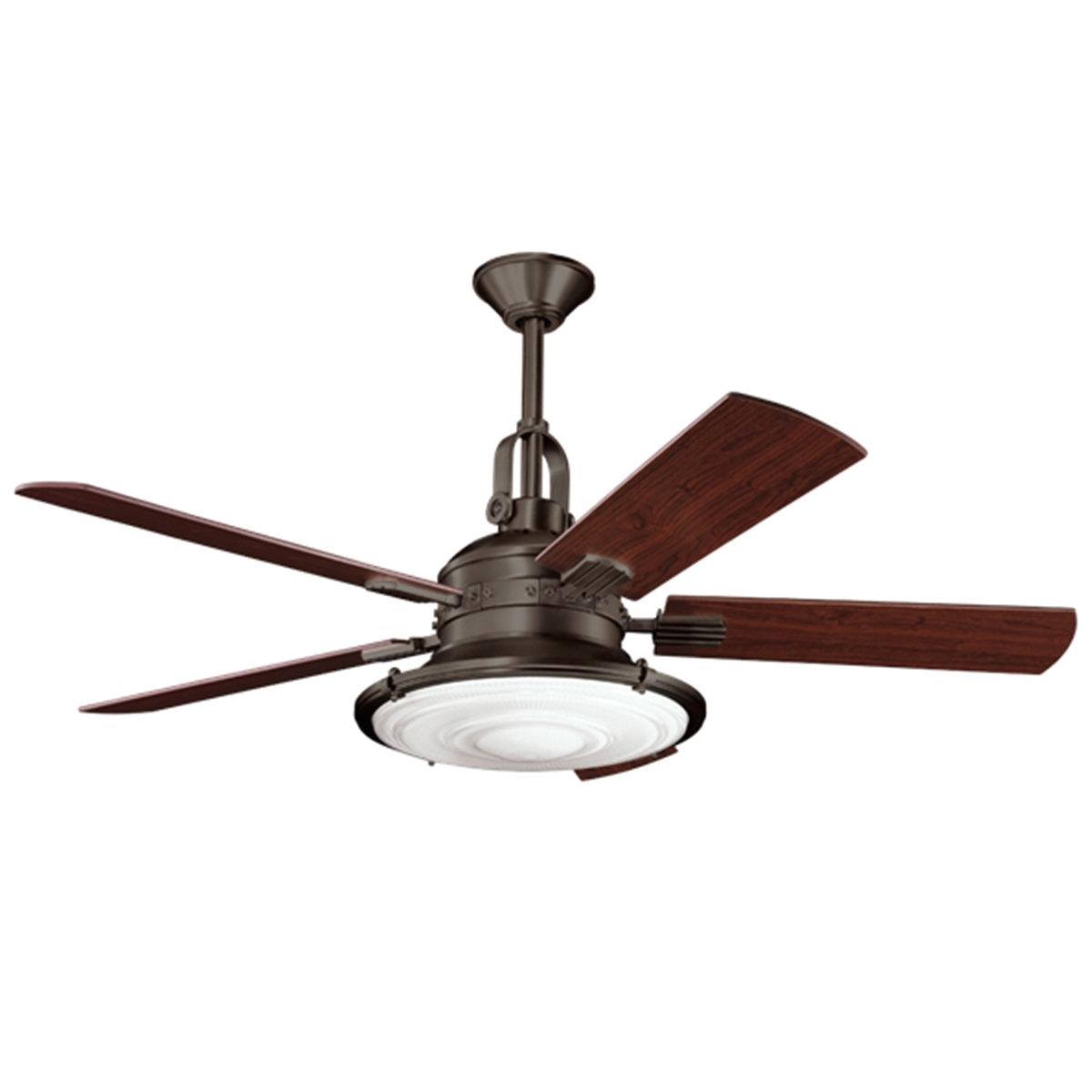 52 modern industrial ceiling fan olde bronze cherry walnut