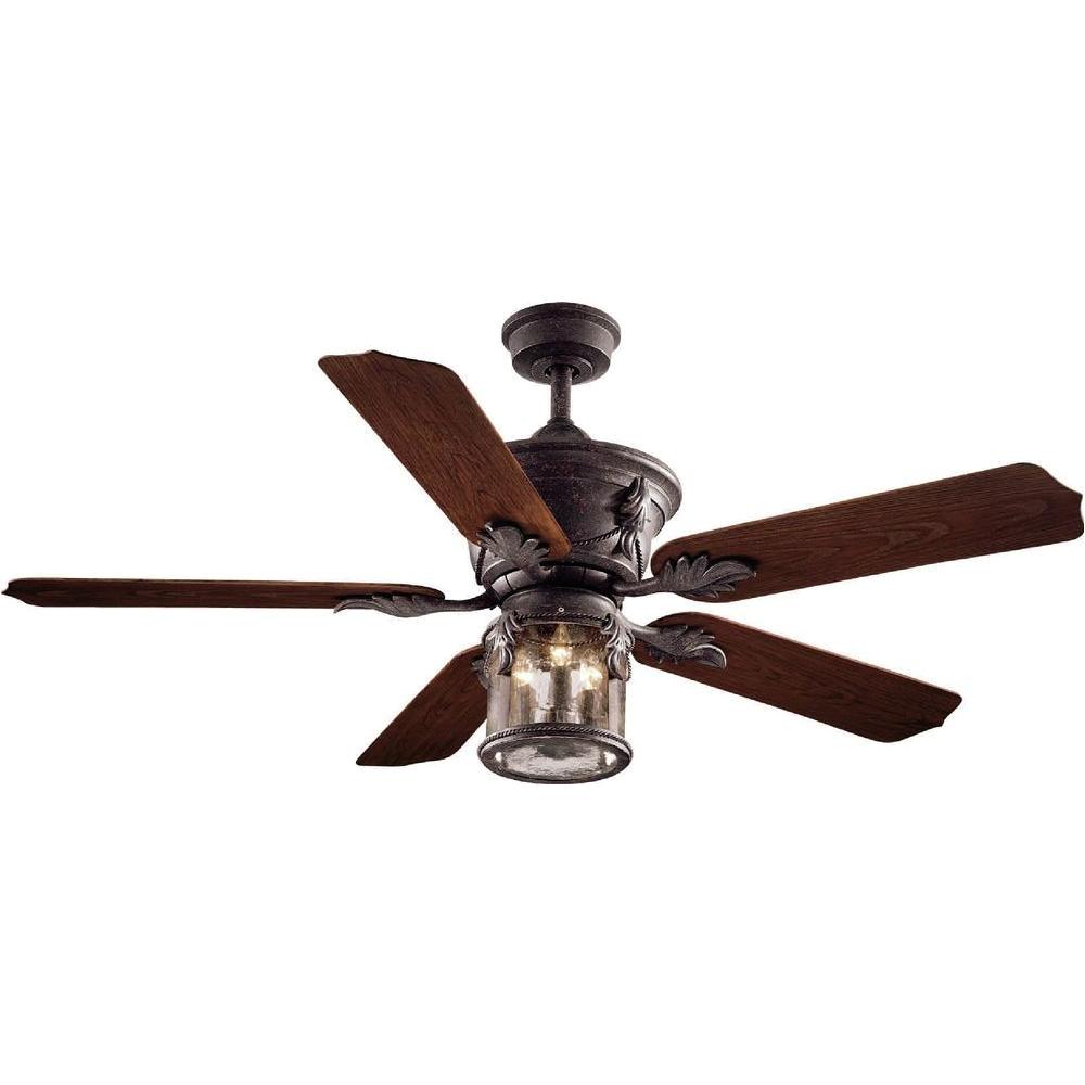 indoor outdoor oxide bronze patina ceiling fan with light