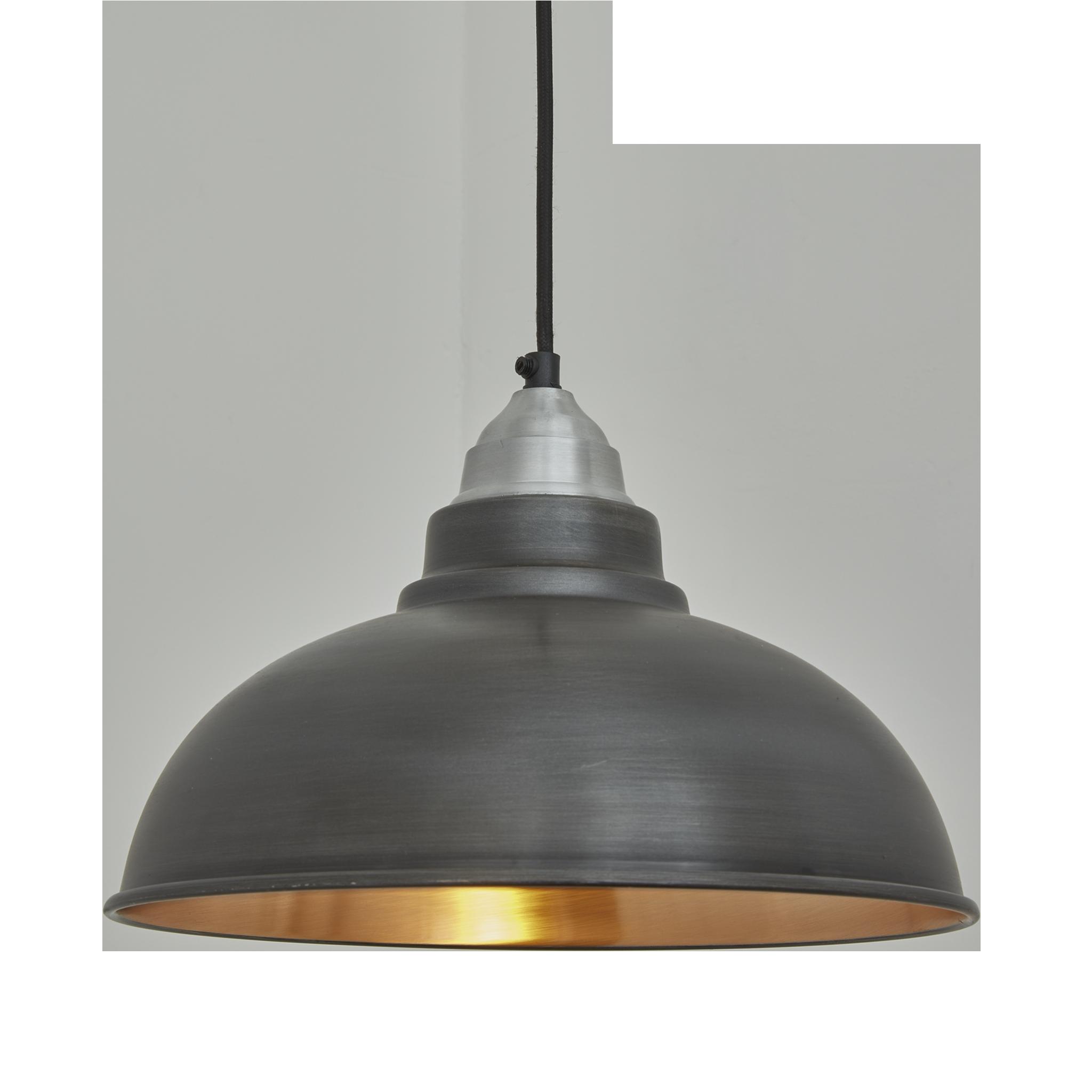 old factory vintage pendant light dark pewter and copper industville a79
