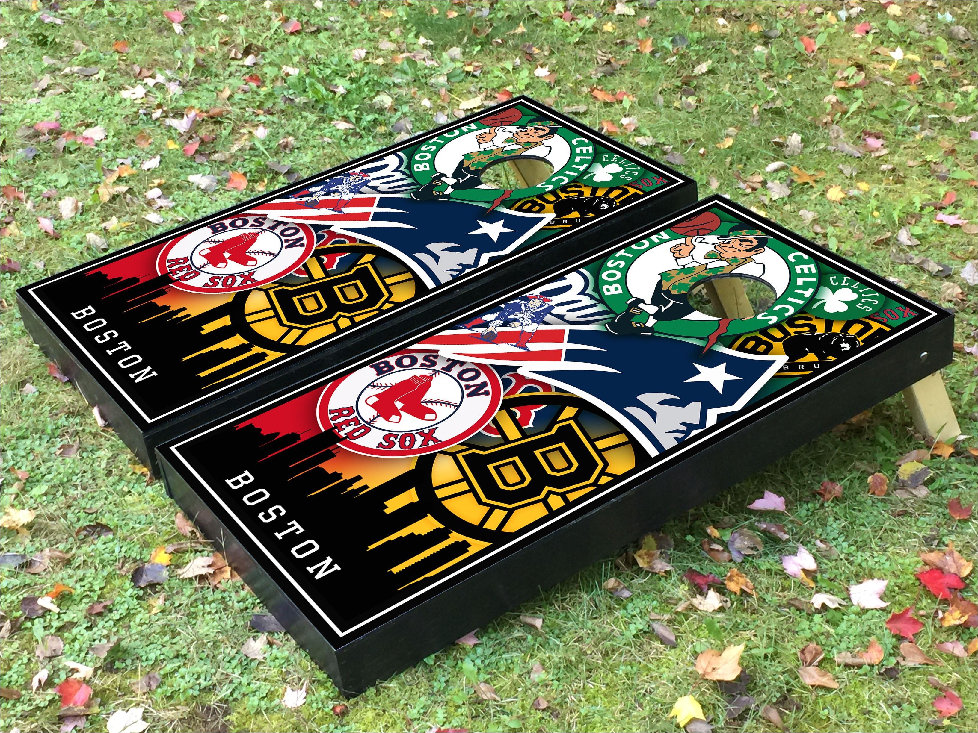Corn Hole Lights Boston Bruins Boston Celtics Boston Red sox and New England Patriots