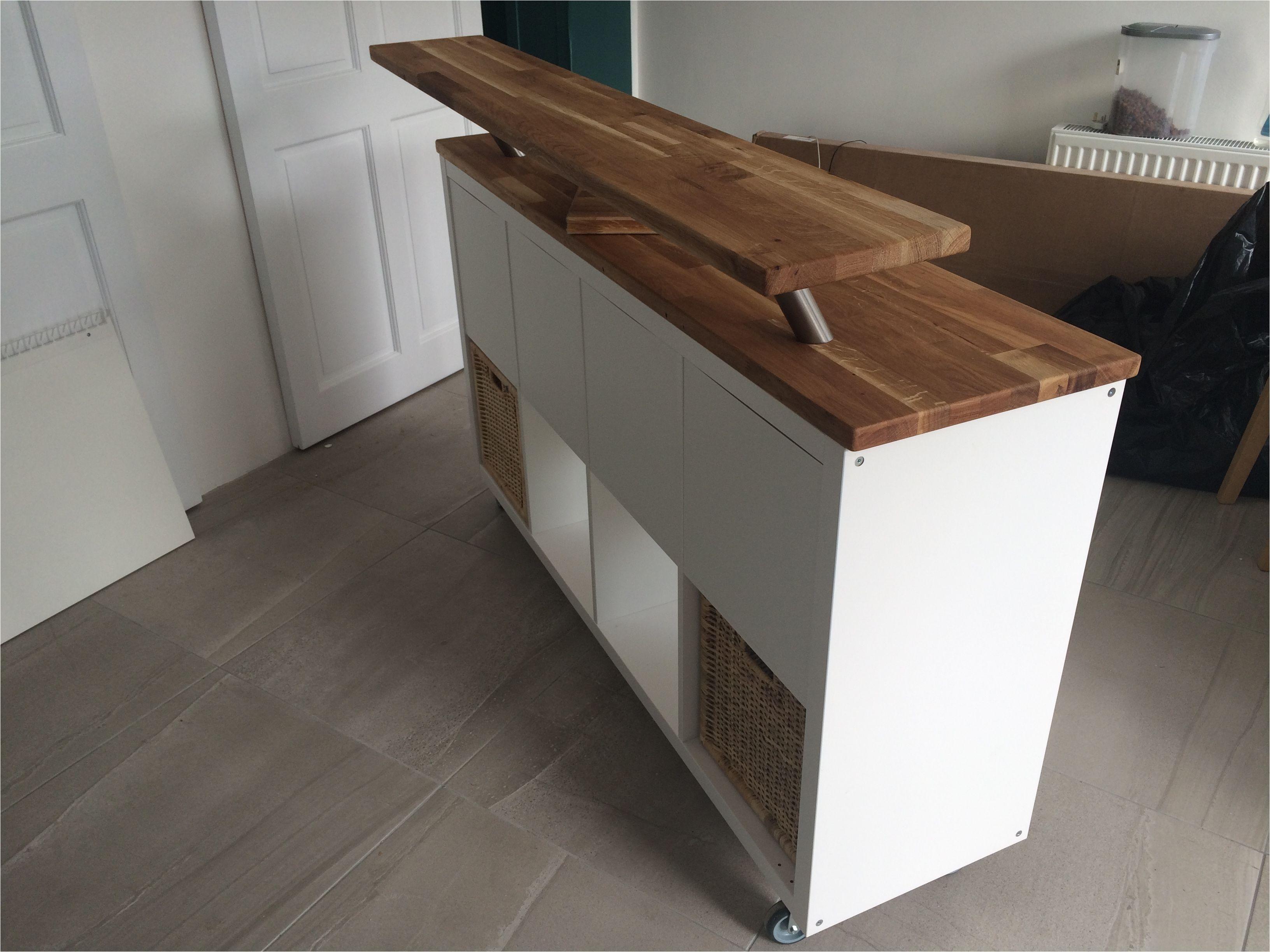 ikea hack kitchen island breakfast bar kallax on heavy duty casters with offcuts of hammar solid wood counter top