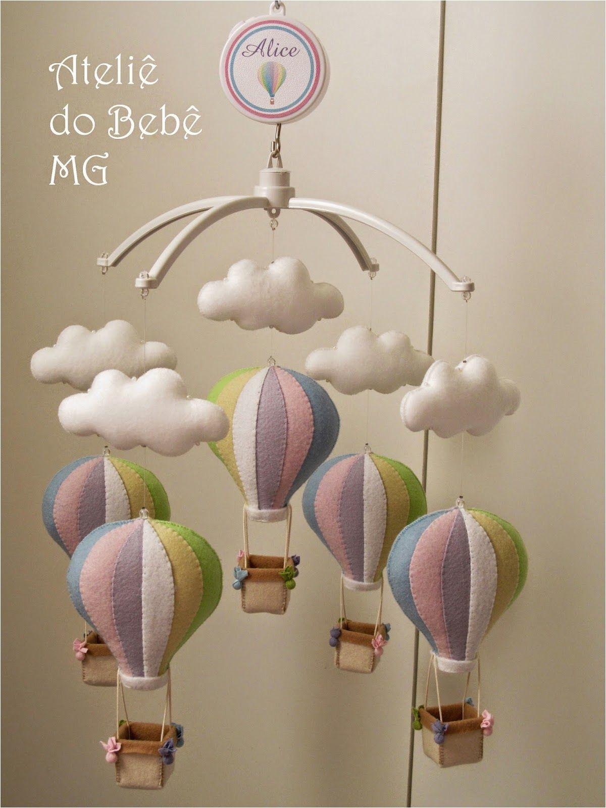 Crib Mobile with Lights ateliaa Do Bebaa Mg Ma³bile Musical Baloaµes E Nuvens Alice