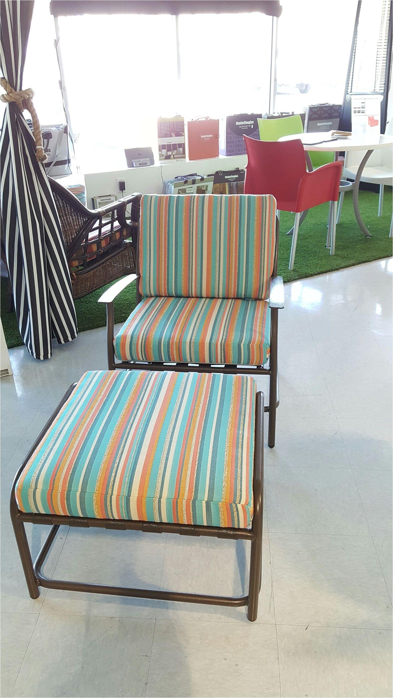 custom chair cushion and ottoman in sunbrella silver state espadrille color caribbean 41376