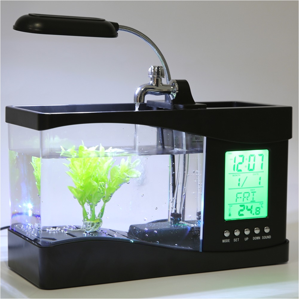 2017 popular new usb desktop mini fish tank aquarium lcd timer clock led lamp light black in aquariums tanks from home garden on aliexpress com