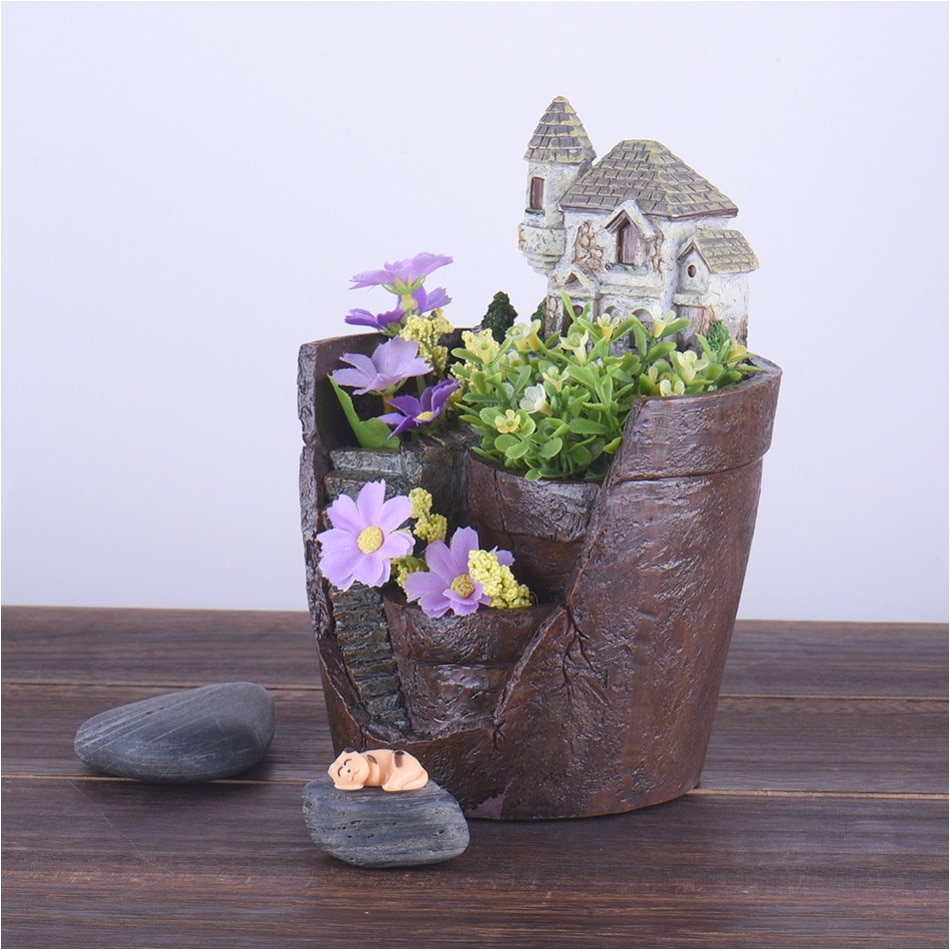 aliexpress com buy creative cartoon hourse resin flower pots micro landscape artificial flower succulent plants pot home desk garden planters from