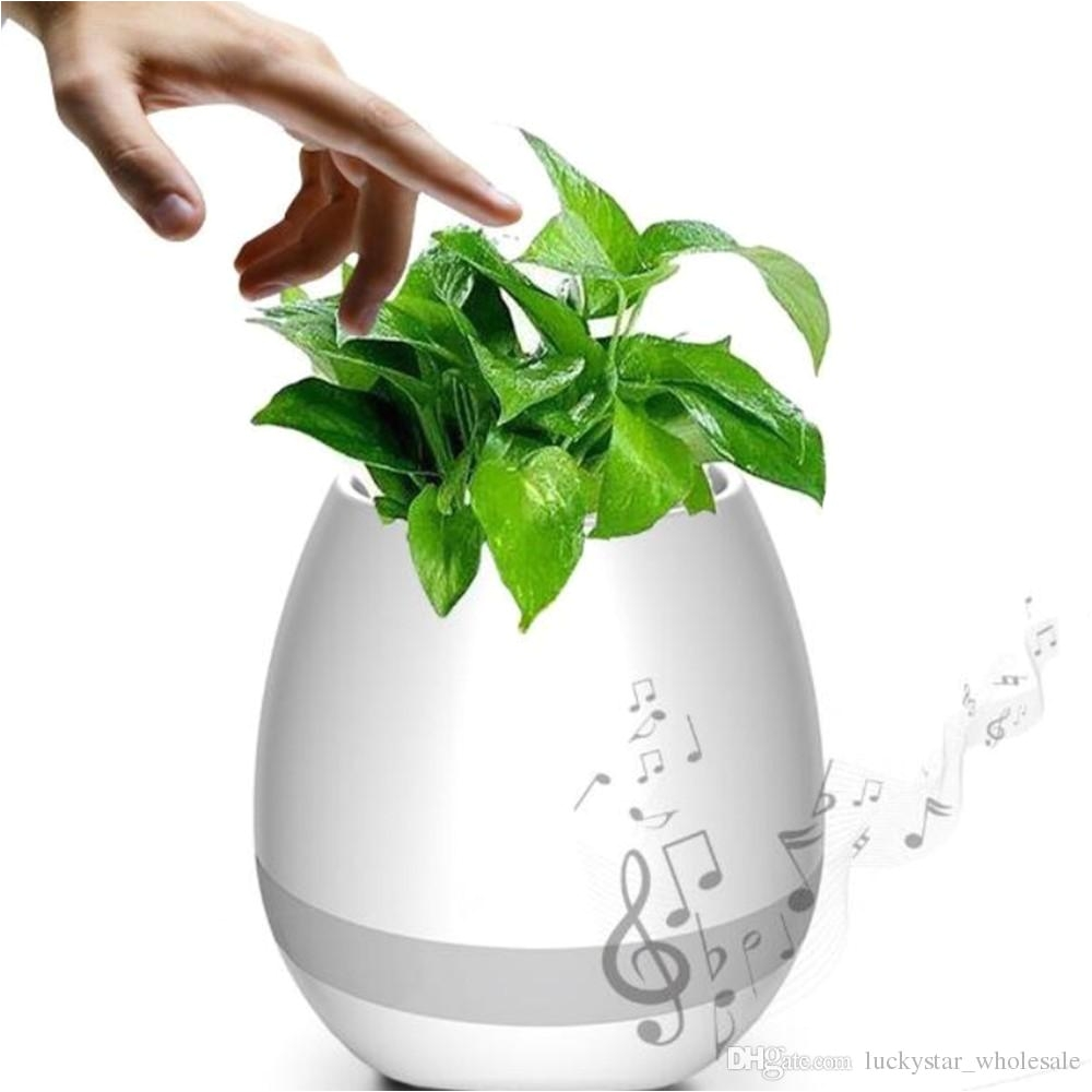 free dhl creative music vase smart music flowerpot wireless bluetooth speaker k3 intelligent plant piano music with colorful led night light speaker online